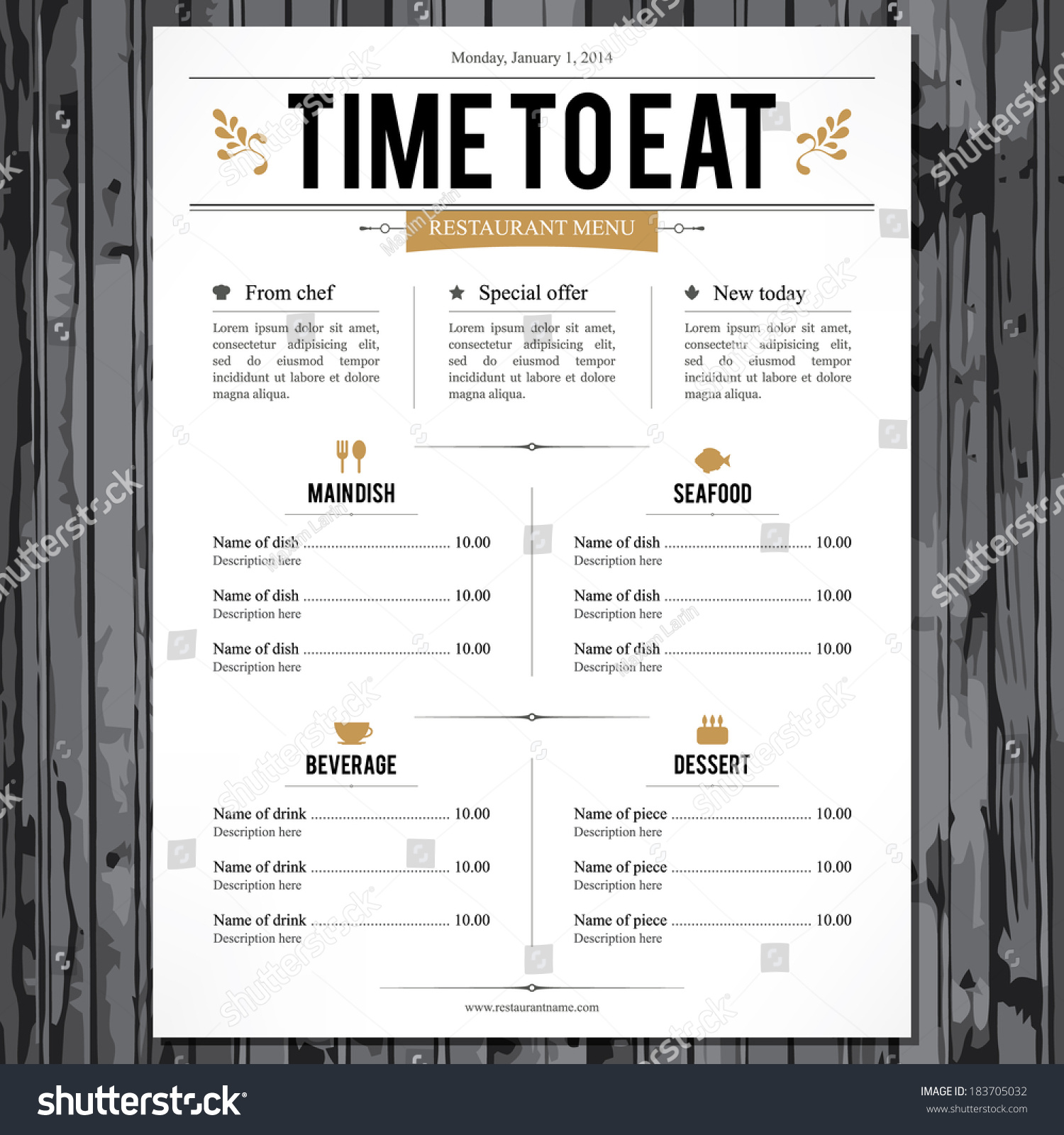Restaurant Menu Design Stock Vector 183705032 - Shutterstock