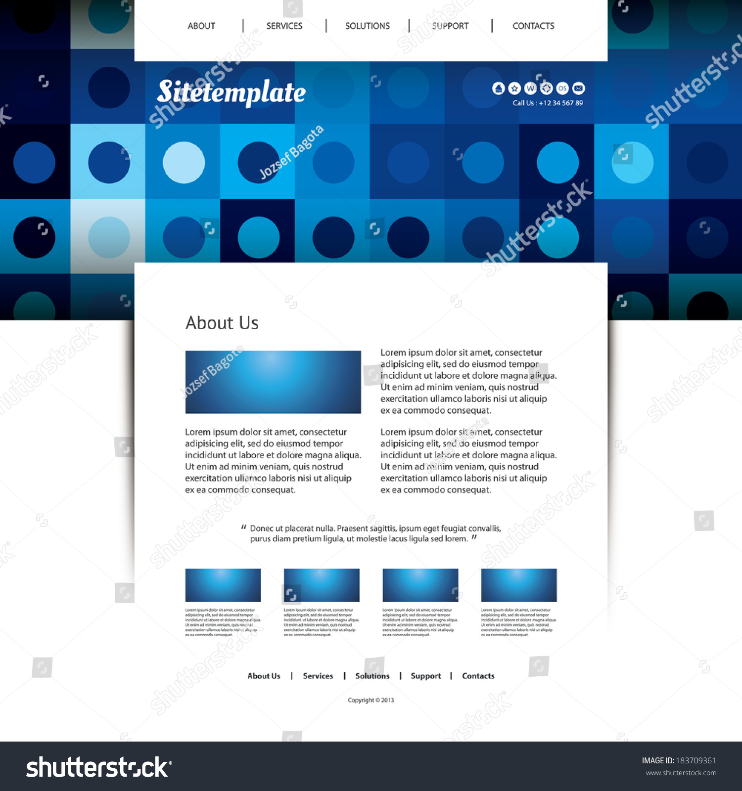 website template with blue abstract header design