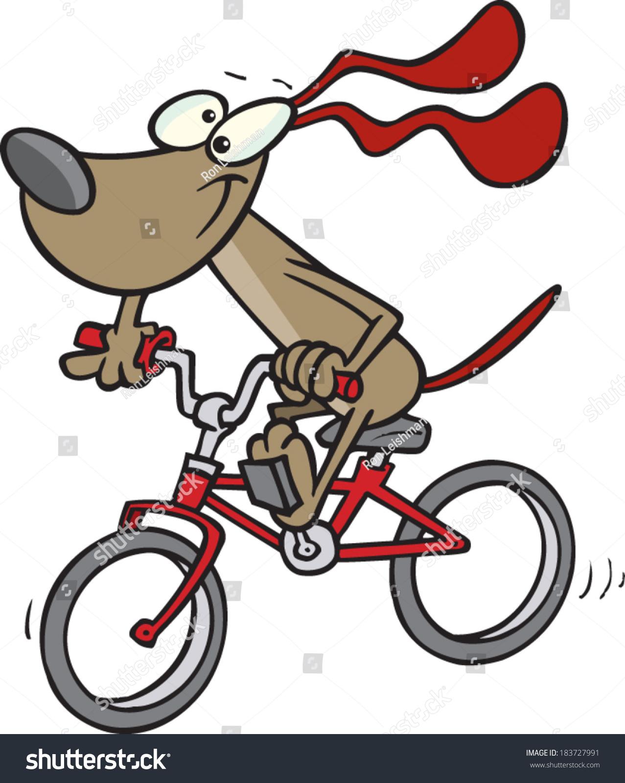 Cartoon Dog Riding Bike Stock Vector 183727991 - Shutterstock