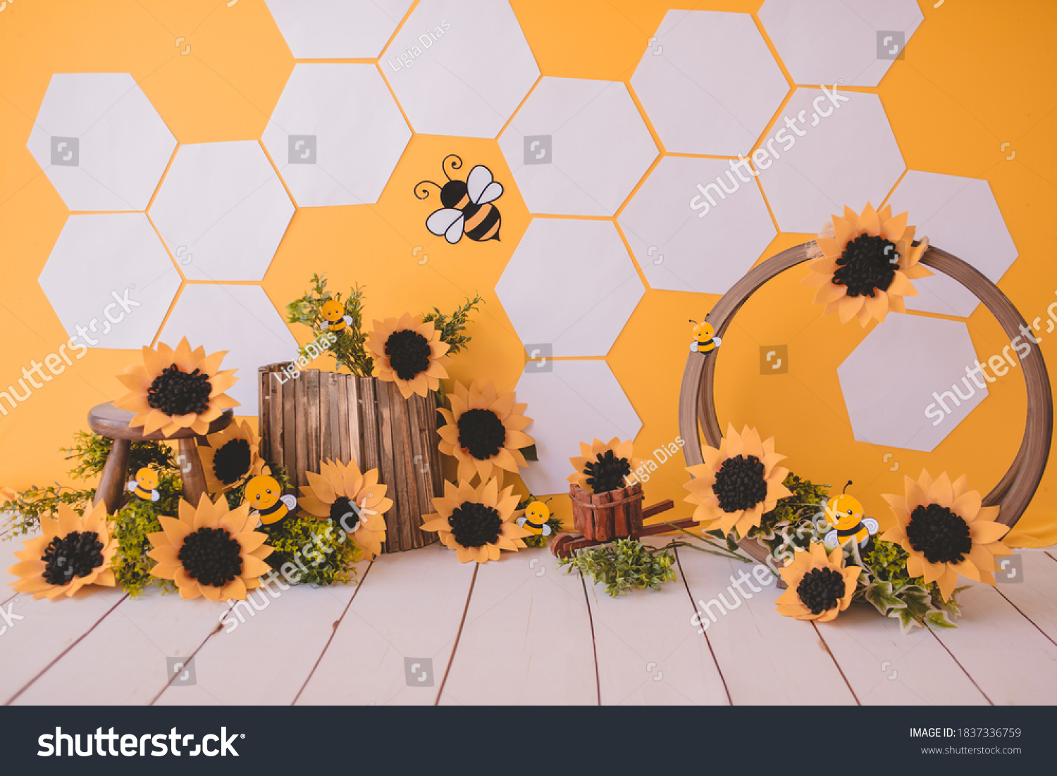 Bees background with sunflower for photography studio #1837336759