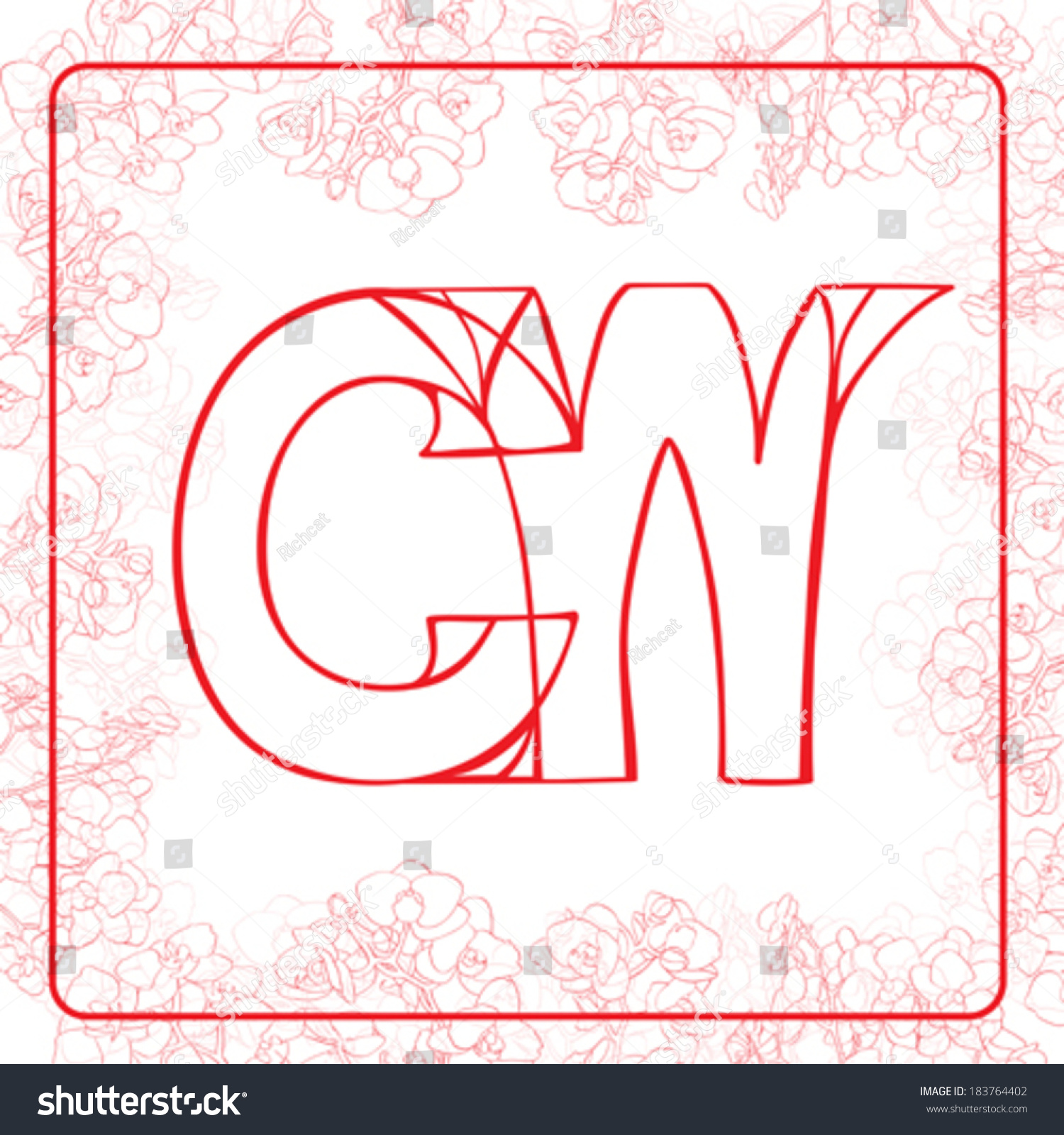 C W Letters Monogram Surrounded By Stock Vector (Royalty Free ...