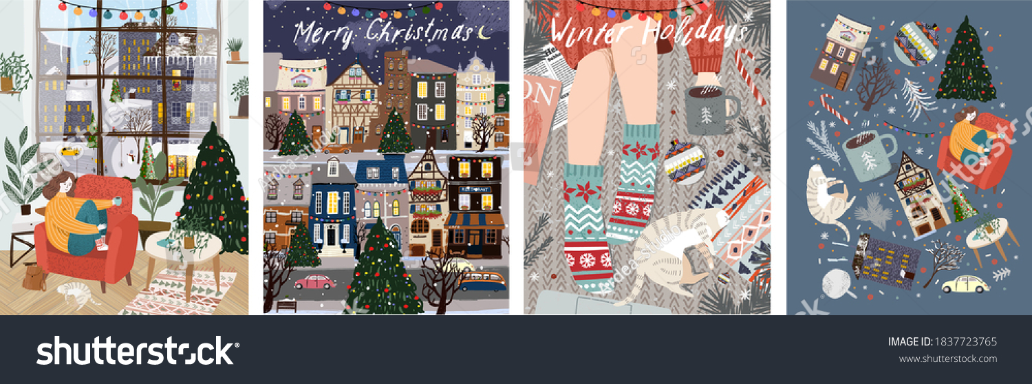 Merry Christmas and Happy New Year! Vector illustration of winter holidays: home living room interior with woman, night cityscape, cozy rug with pet cat and coffee. Drawings for postcard and poster  #1837723765