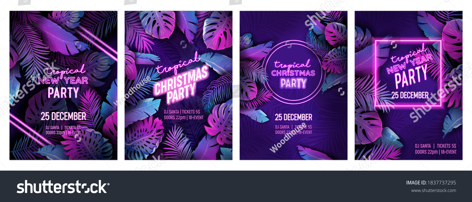 Tropic Christmas party neon flyer set, vibrant vector New Year holiday poster. Disco monstera palm leaves design, winter beach holidays tropical background. Paradise purple template illustration