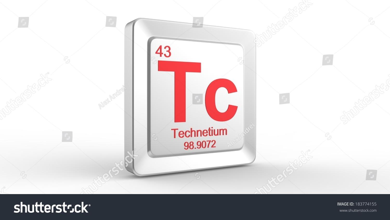 Tc Symbol 43 Material Technetium Chemical Stock Illustration