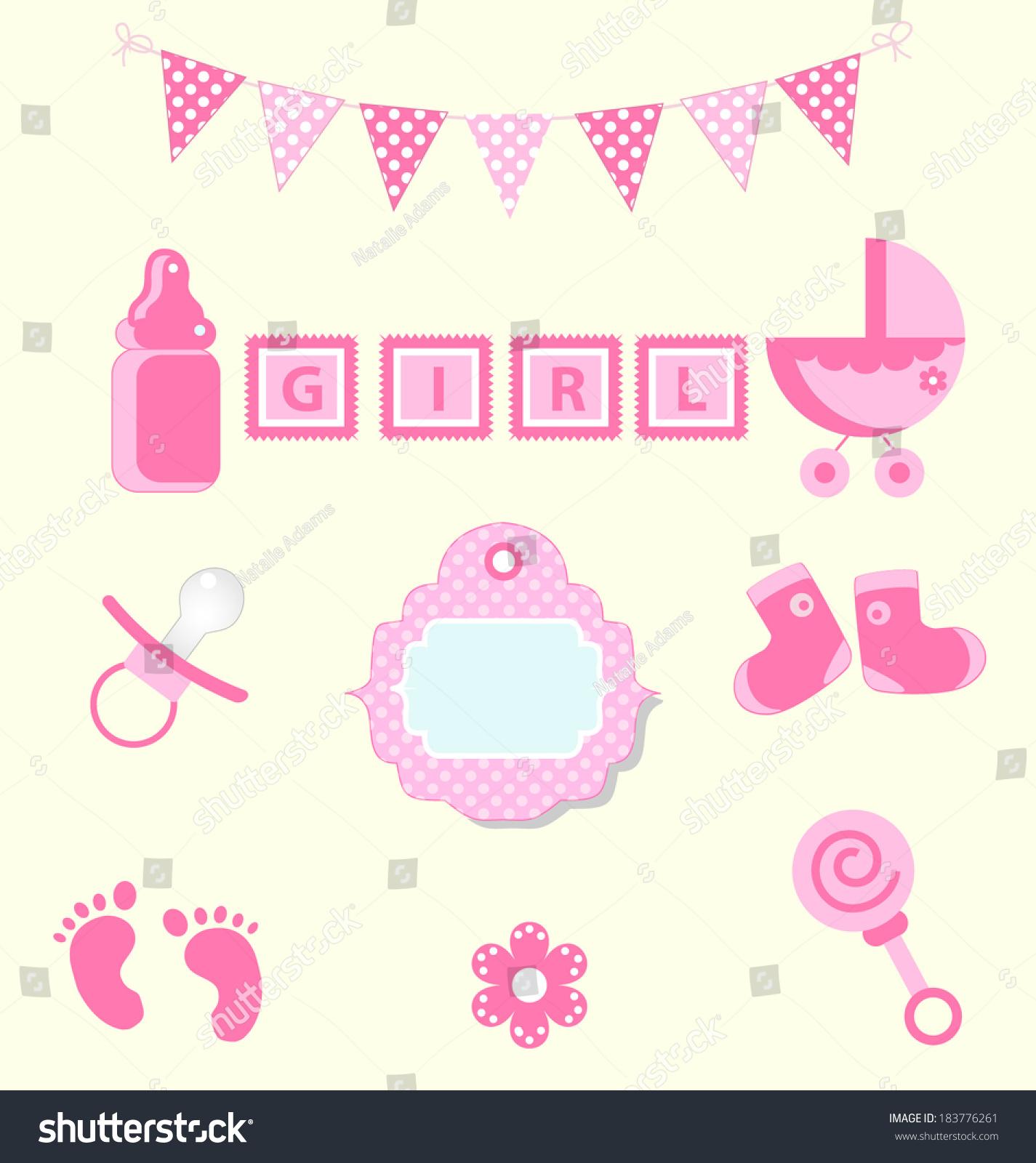 Baby Girl Set Design Element Scrapbook Stock Vector Royalty Free