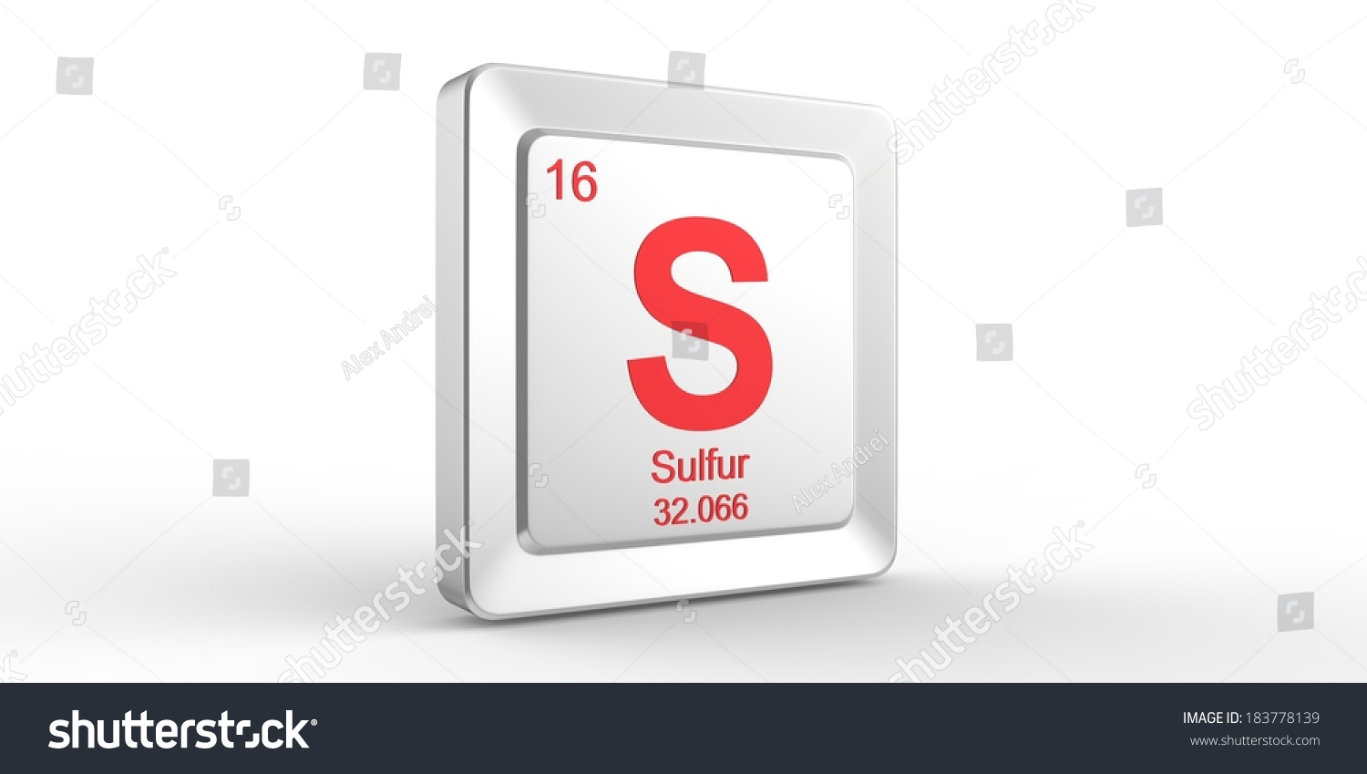 S Symbol 16 Material Sulfur Chemical Stock Illustration 183778139