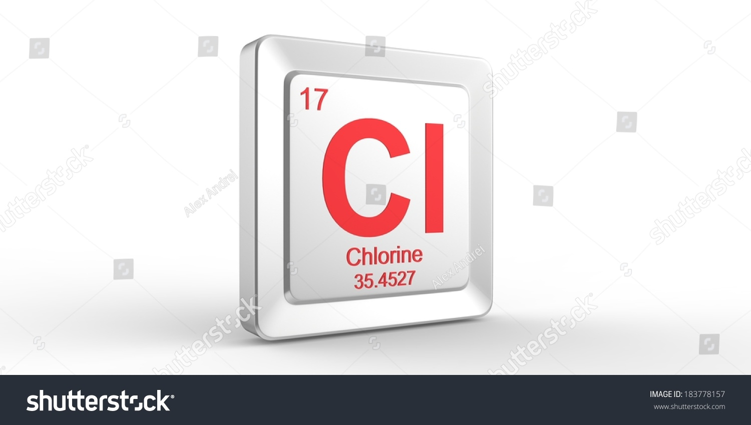 Cl Symbol 17 Material Chlorine Chemical Stock Illustration 183778157