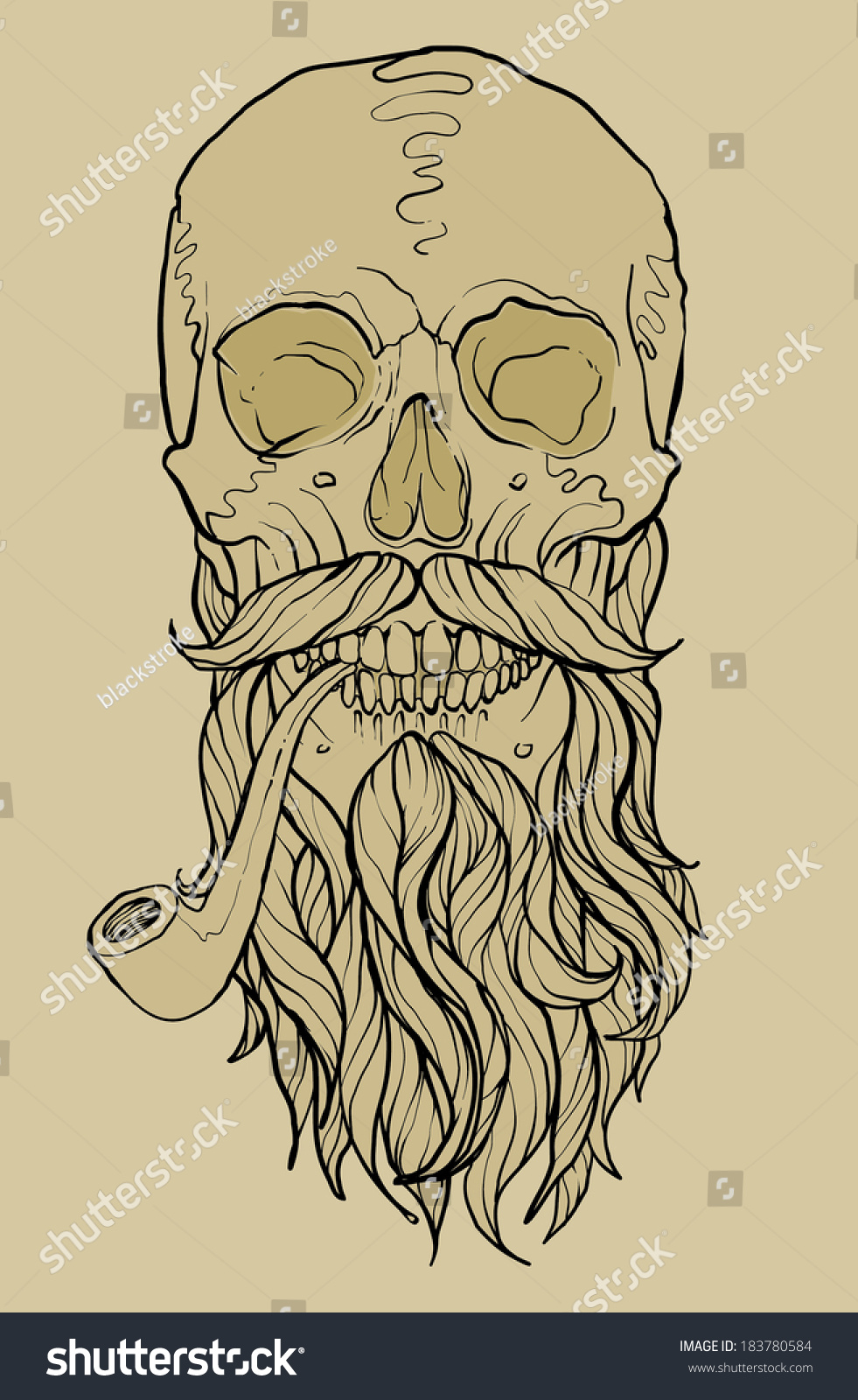 Skull Beard Pipe Stock Vector (Royalty Free) 183780584 - Shutterstock
