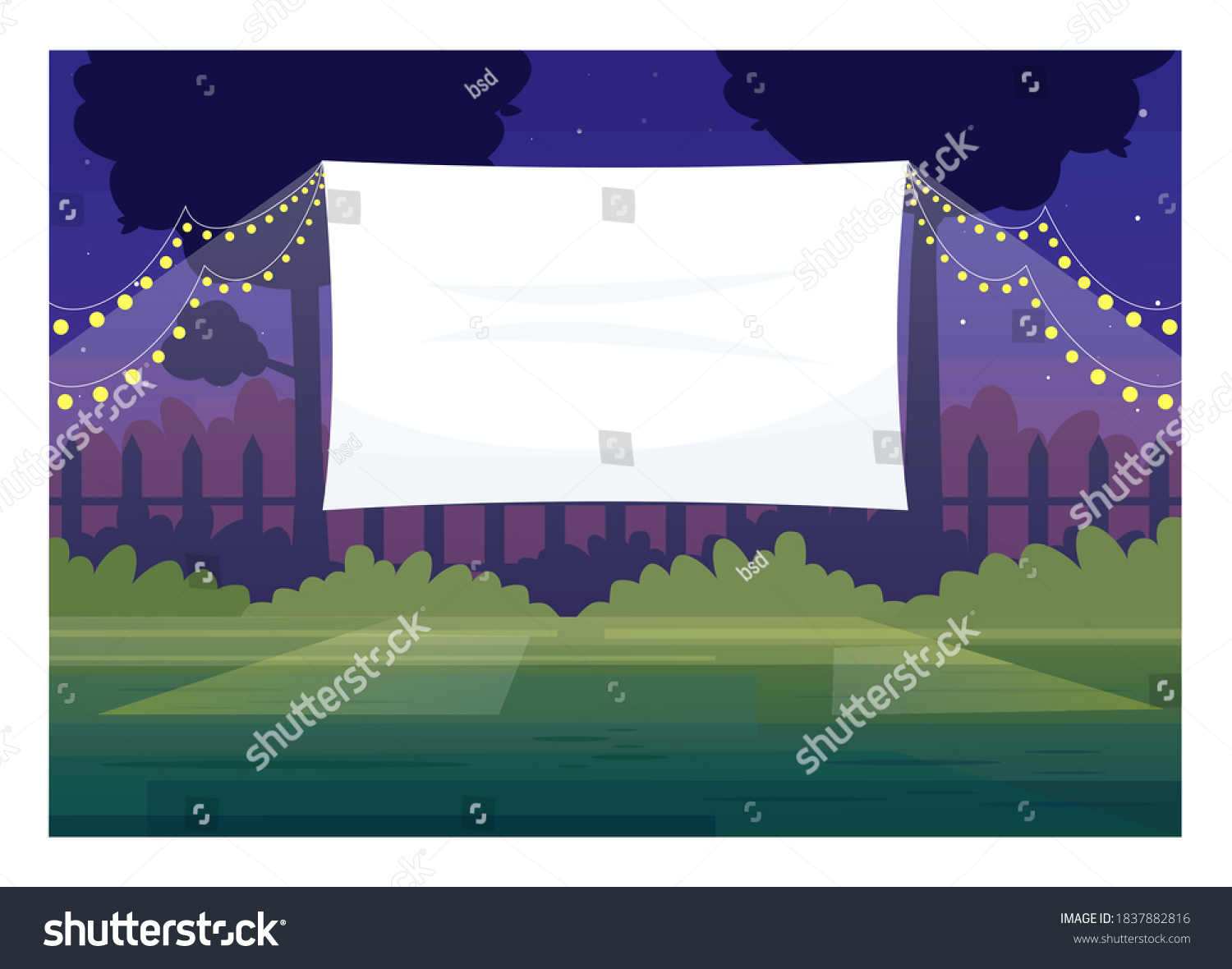 Festive outdoor cinema screen semi flat vector illustration. Open air decorated place with lanterns. Film premiere outside. Public park. Outdoors movie night 2D cartoon scene for commercial use #1837882816