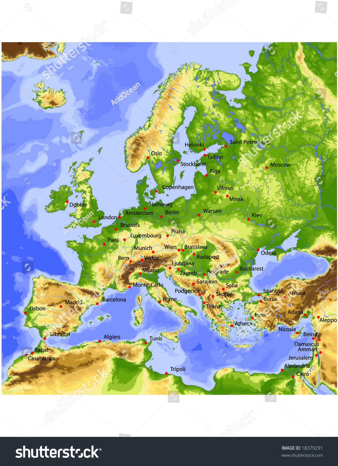 europe physical vector map colored according stock vector 18379291