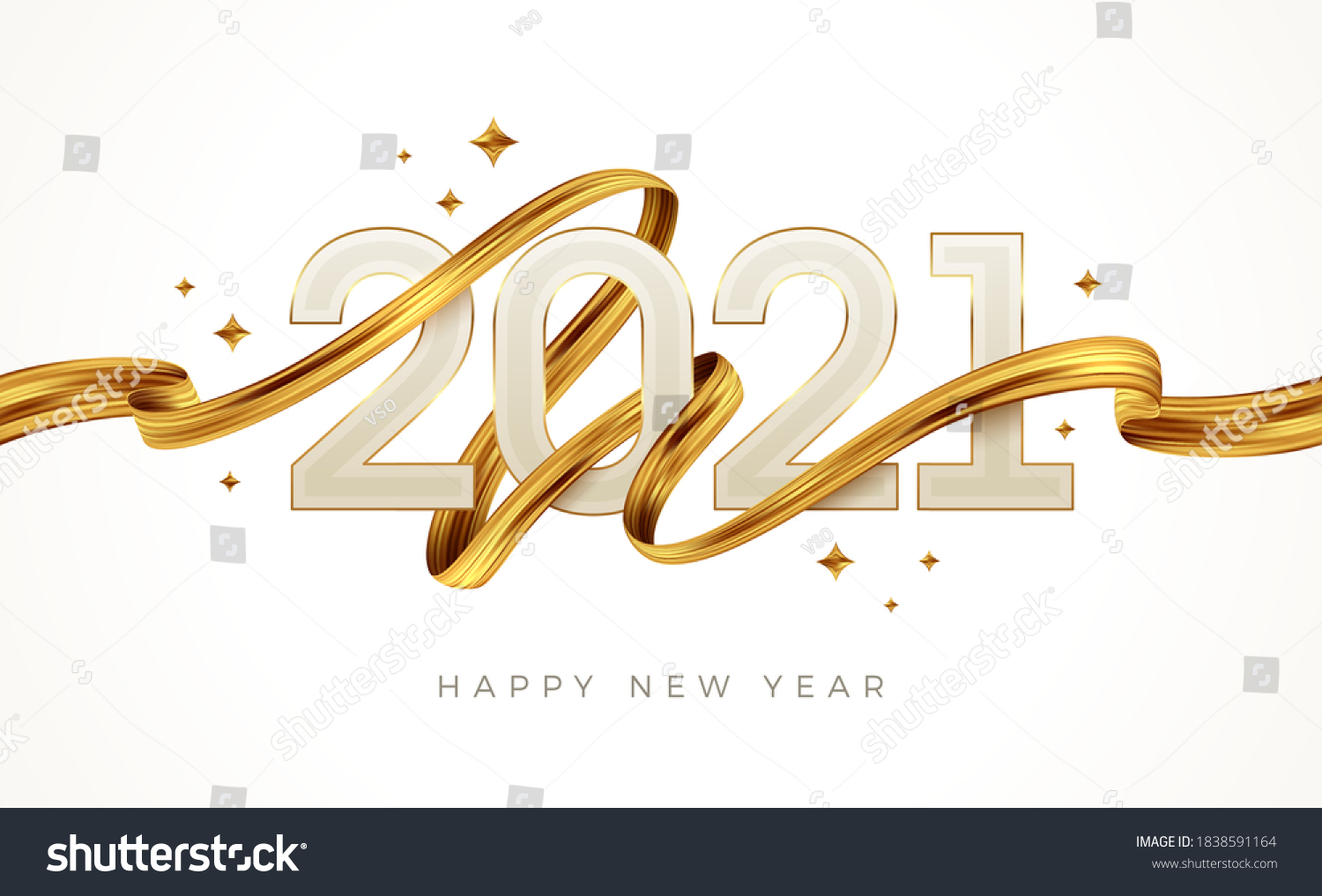 2021 New Year  logo with golden paint brushstroke..   New Year sign with golden ribbon. Vector illustration. #1838591164