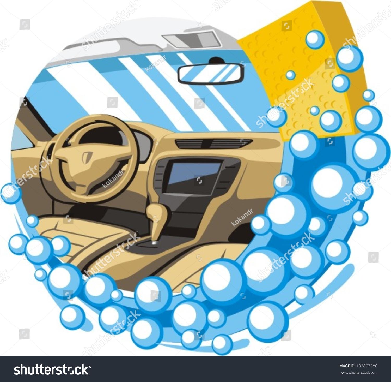 car interior wash clean stock vector 183867686 shutterstock. Black Bedroom Furniture Sets. Home Design Ideas