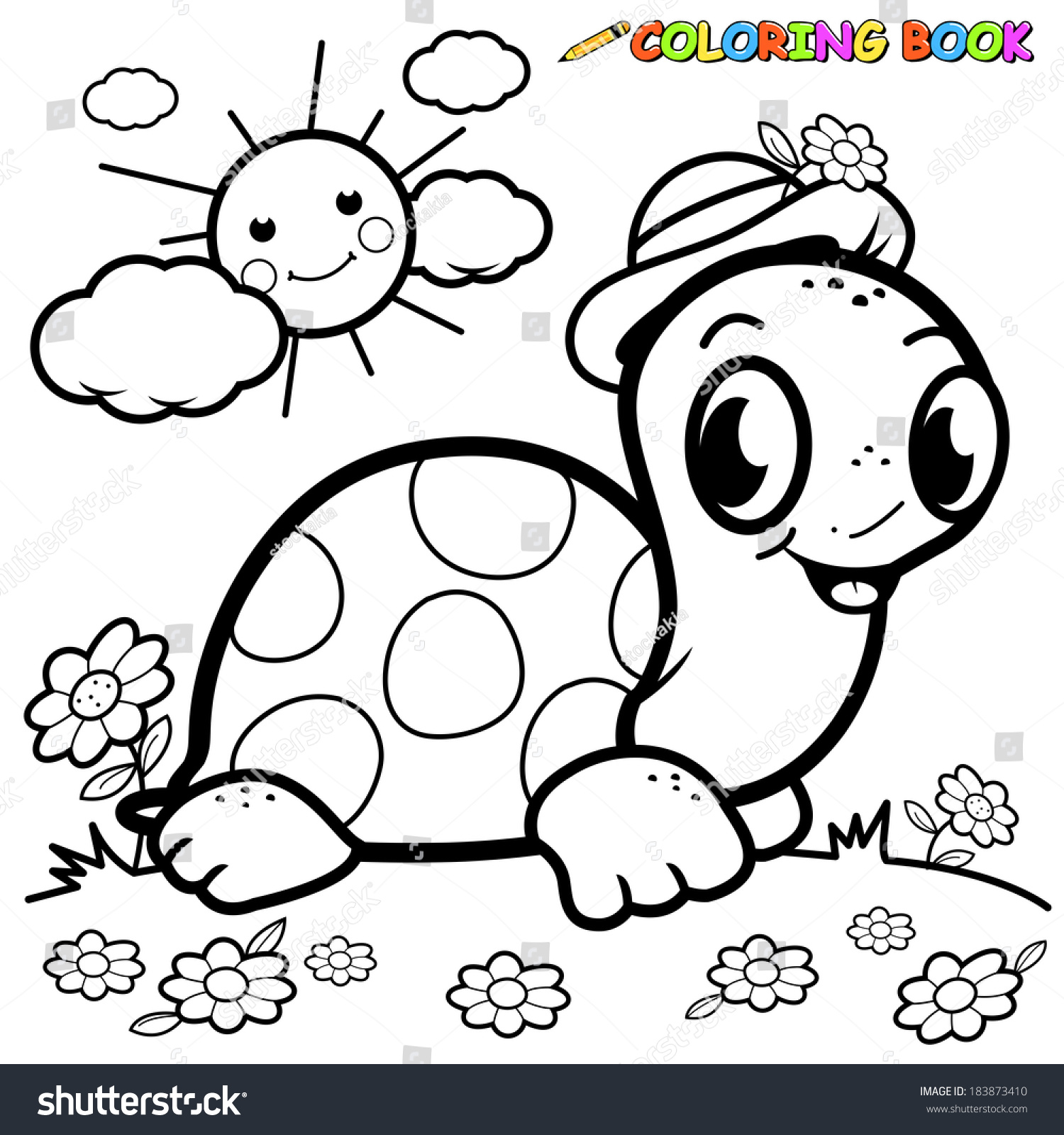 black white outline image turtle grass stock vector 183873410