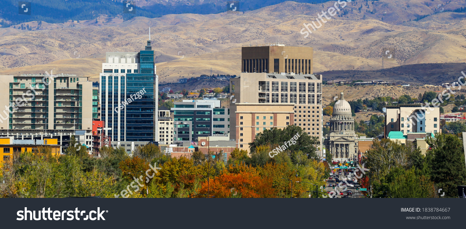 Panoramic view of downtown Boise, Idaho and the foothills #1838784667