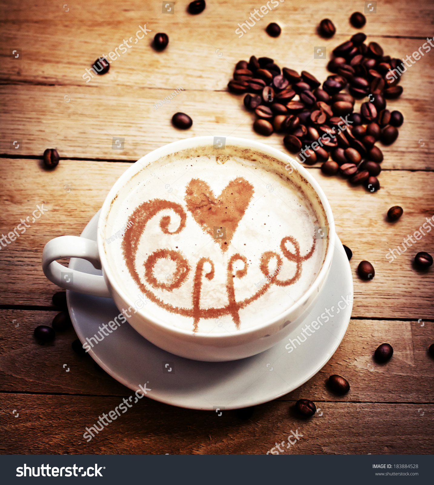 Cup Coffee Love Cup Heart Drawing Stock Photo 183884528