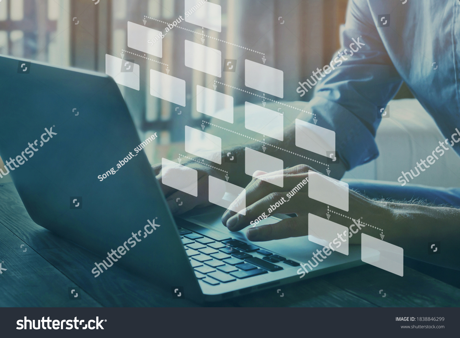mindmap or organigram on virtual screen, person looking at hierarchy scheme, business structure #1838846299