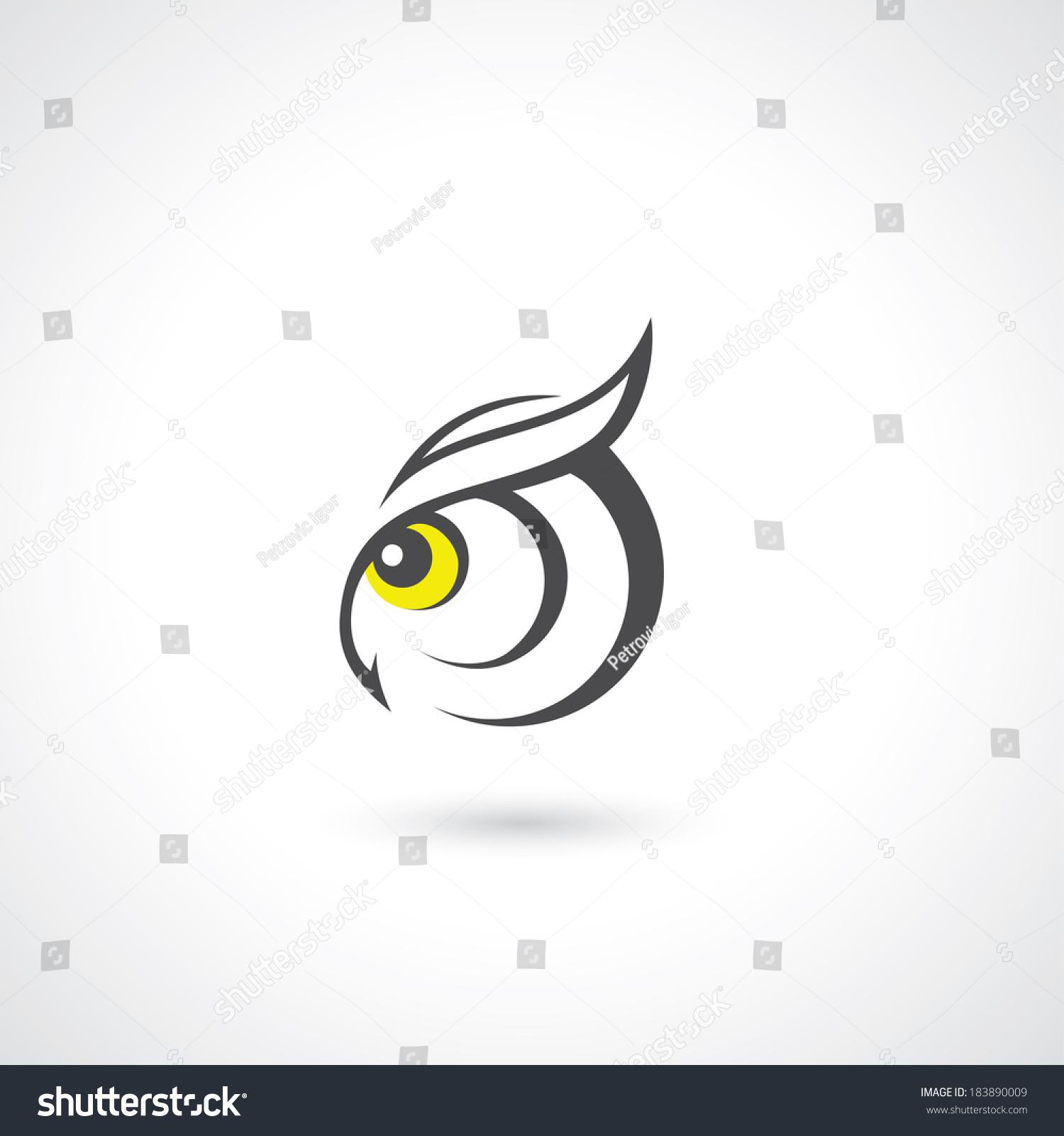 Owl Head - Vector Illustration - 183890009 : Shutterstock