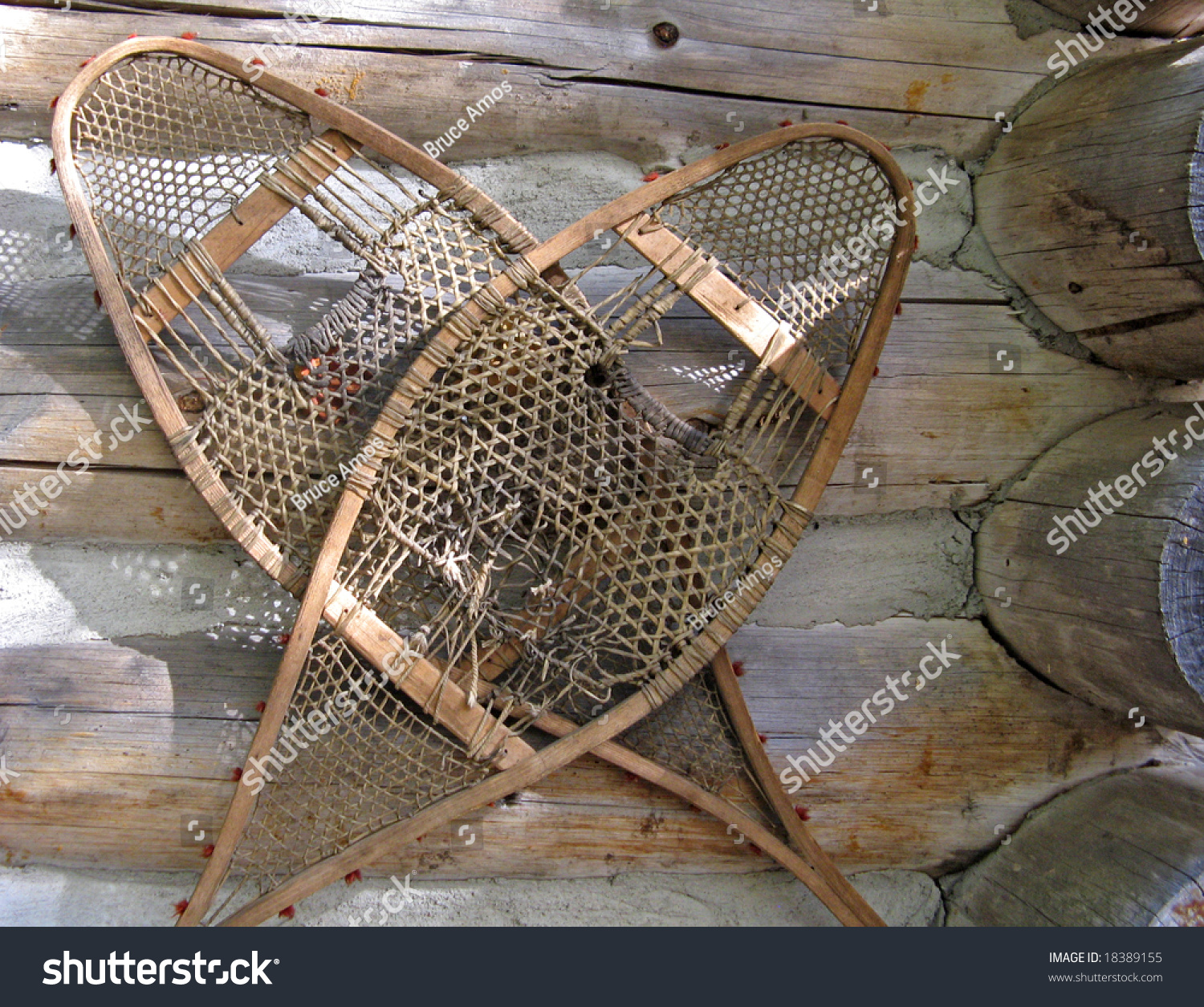 Old Snowshoes On A Cabin Wall Stock Photo 18389155