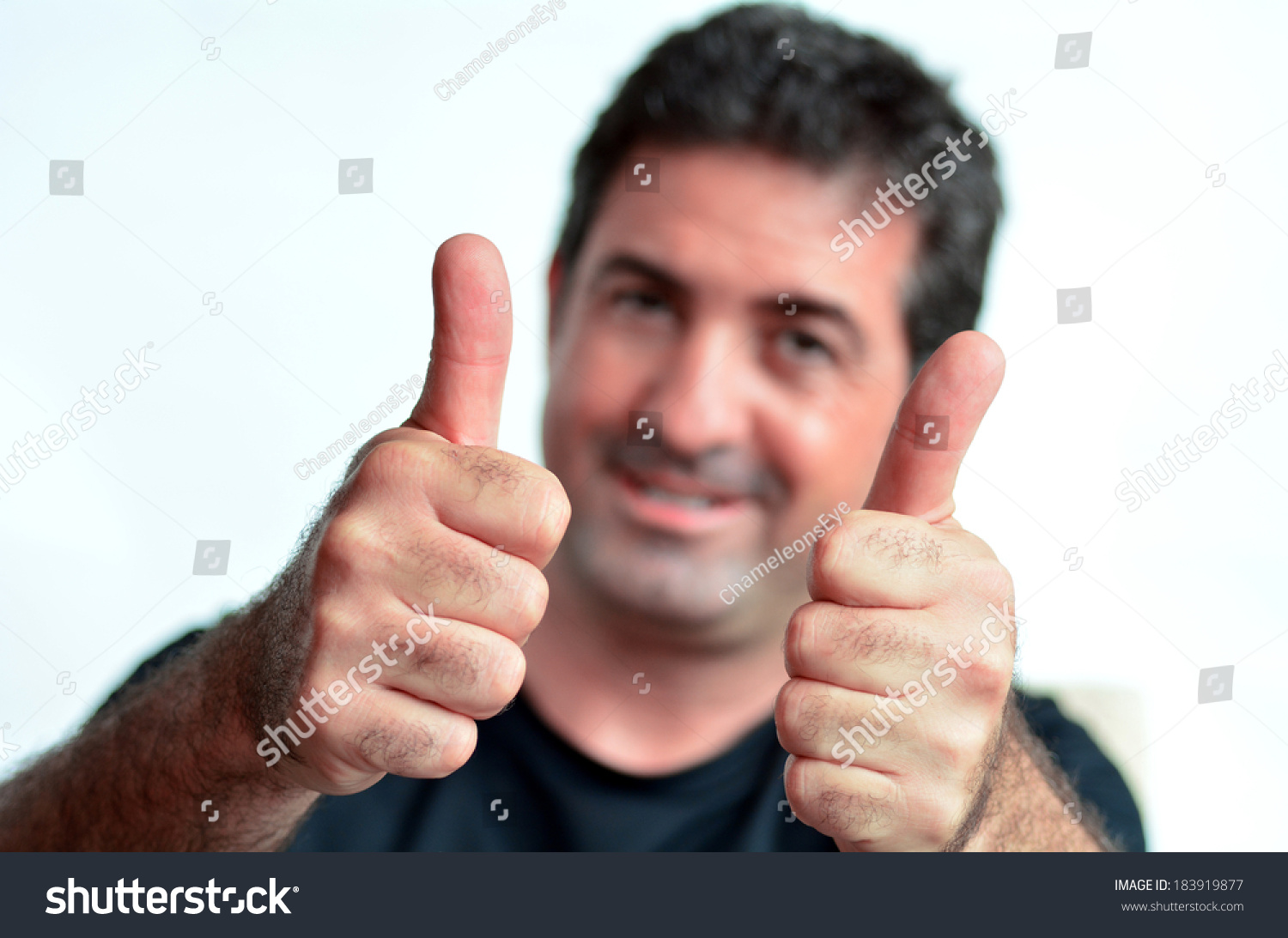 happy young mature man showing thumbs stock photo (royalty free