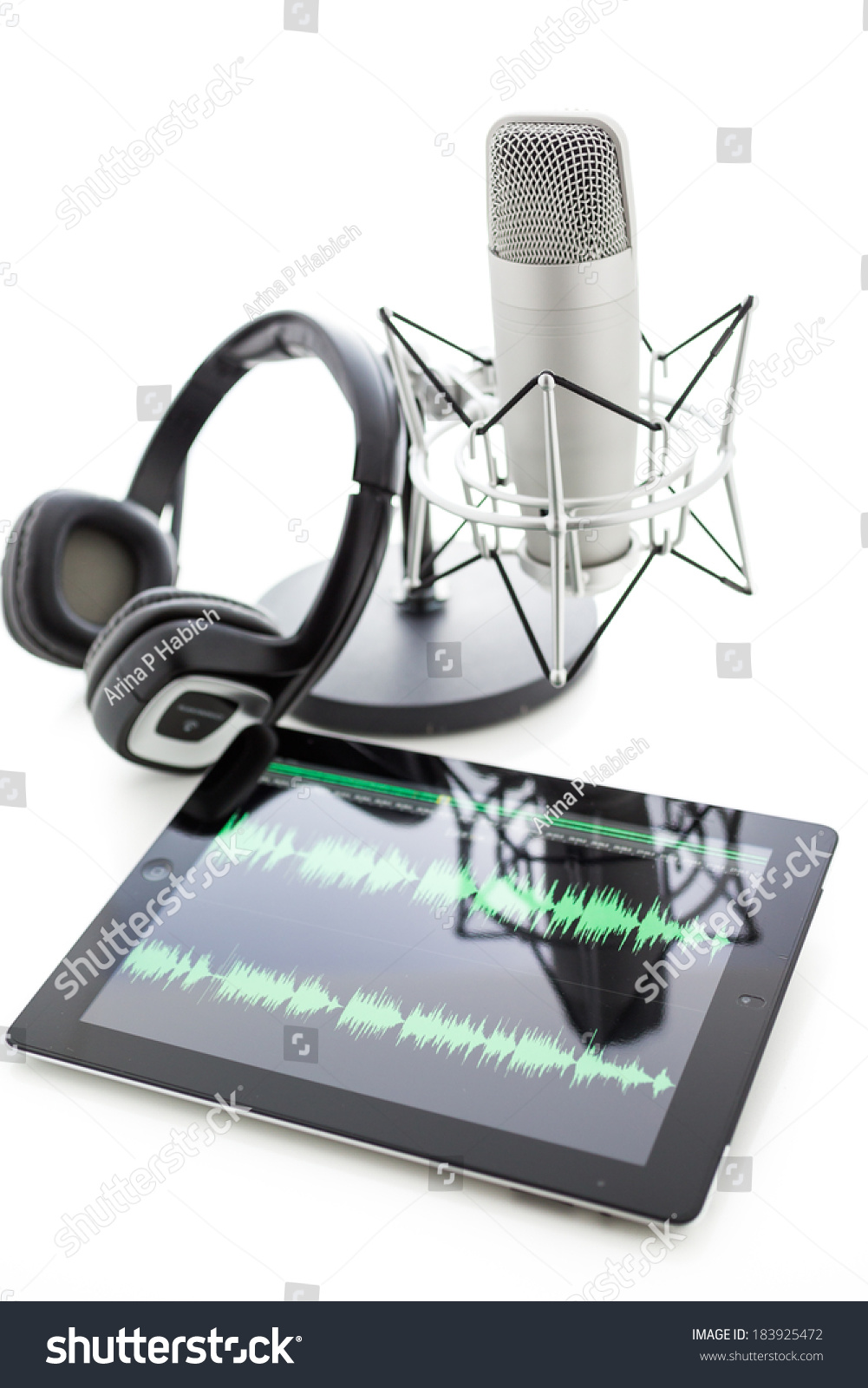 Studio microphone recording podcasts headset on stock photo royalty studio microphone for recording podcasts with headset on a white background ccuart Images