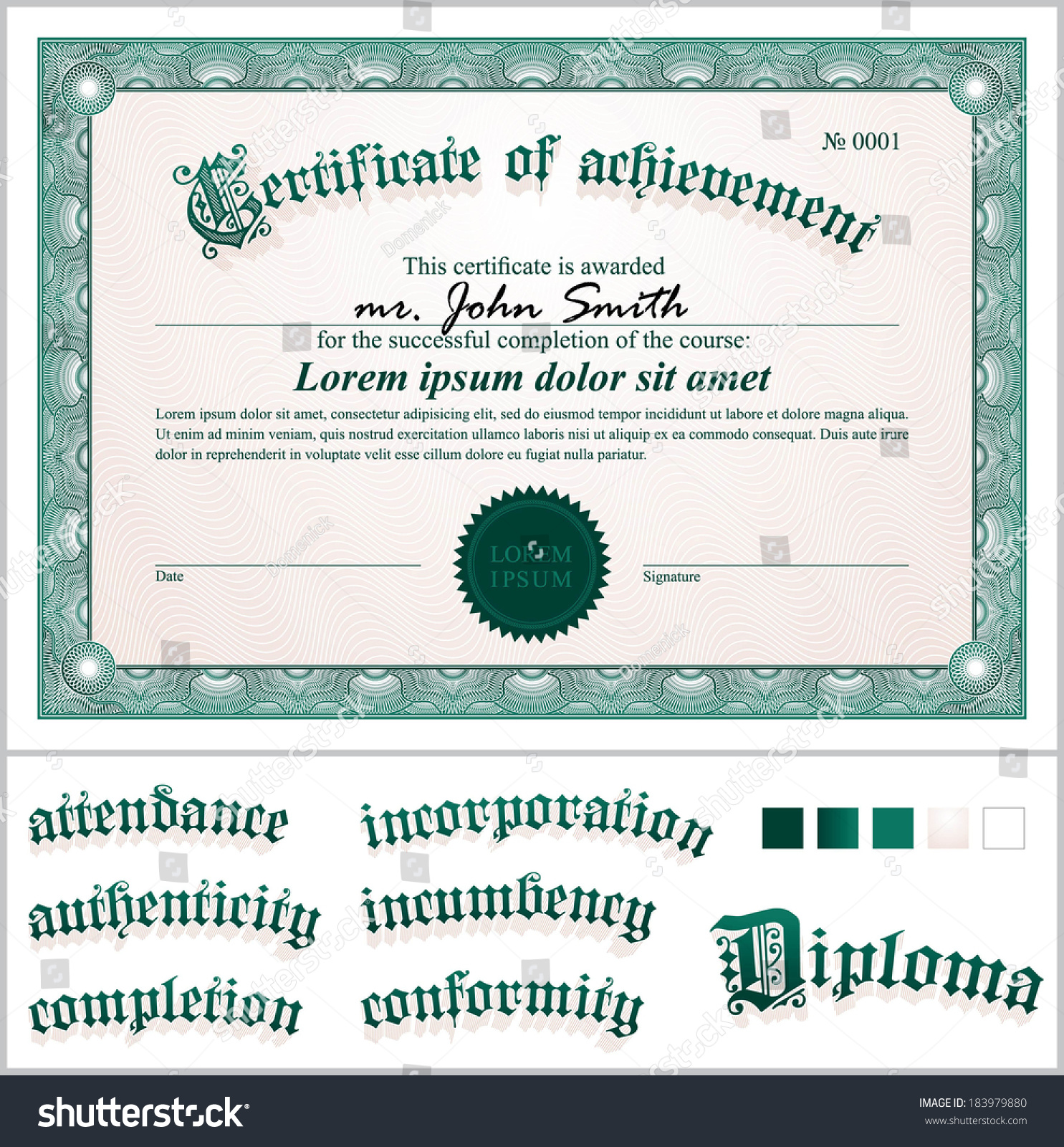 Vector illustration green certificate template horizontal stock vector illustration of green certificate template horizontal additional design elements xflitez Choice Image