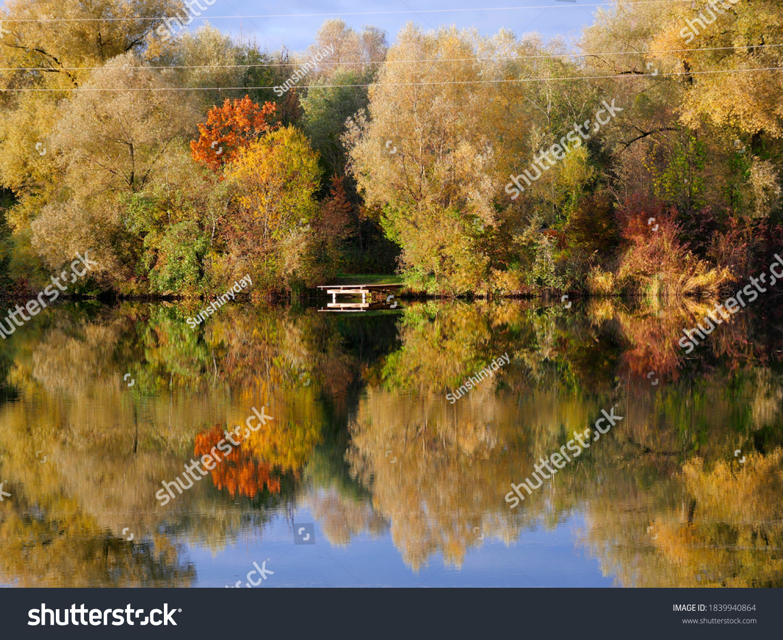 Beautiful lake fall landscape autumn