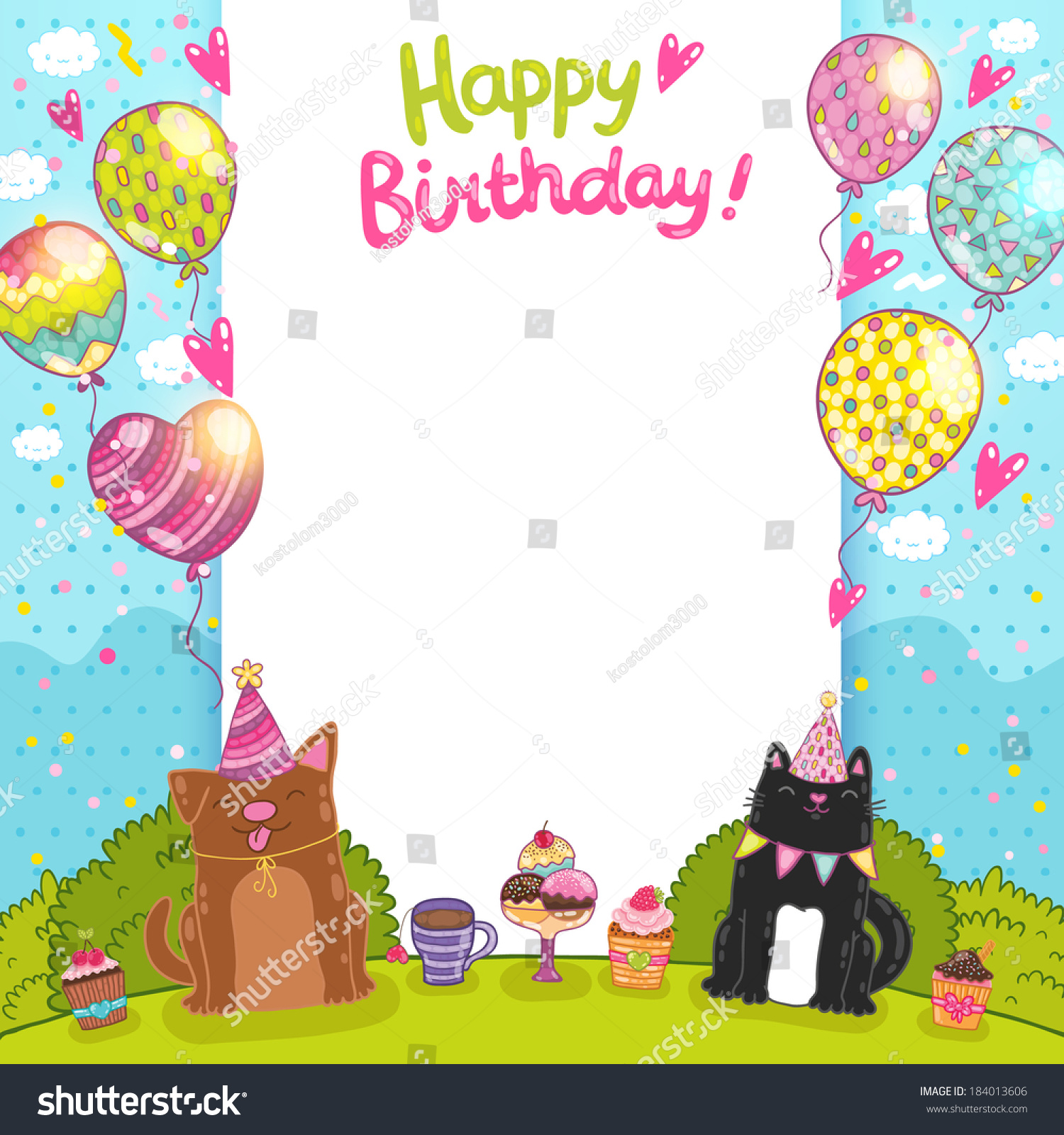 Happy Birthday Card Background Cat Dog Stock Vector Royalty Free