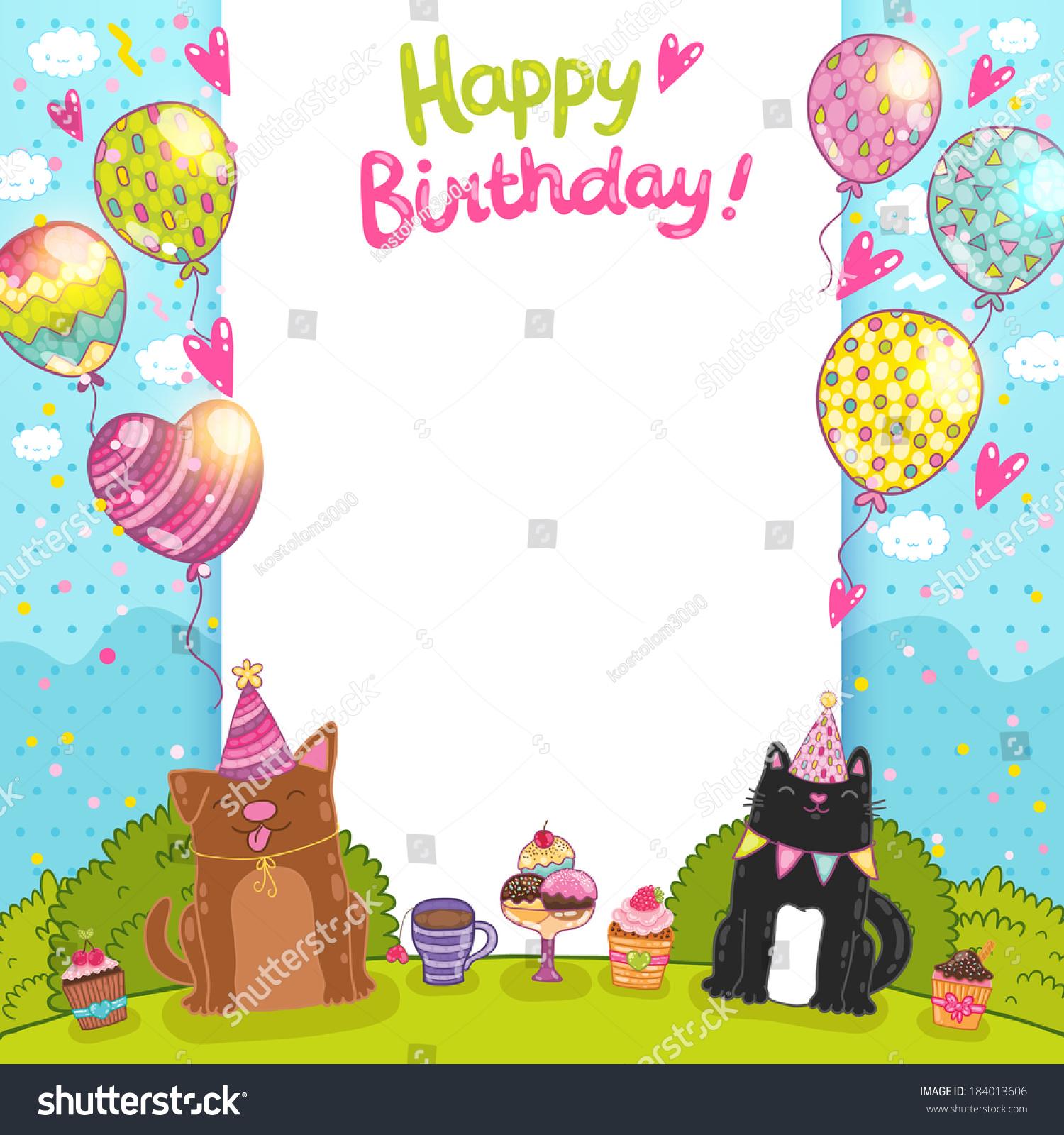 Happy Birthday Card Background Cat Dog Stock Vector