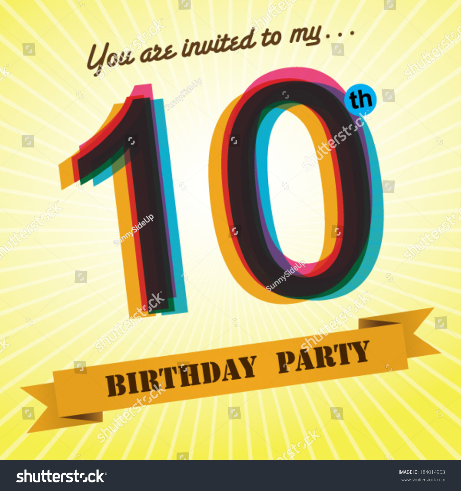 10th birthday party invite template design stock vector 2018 10th birthday party invite template design in retro style vector background filmwisefo