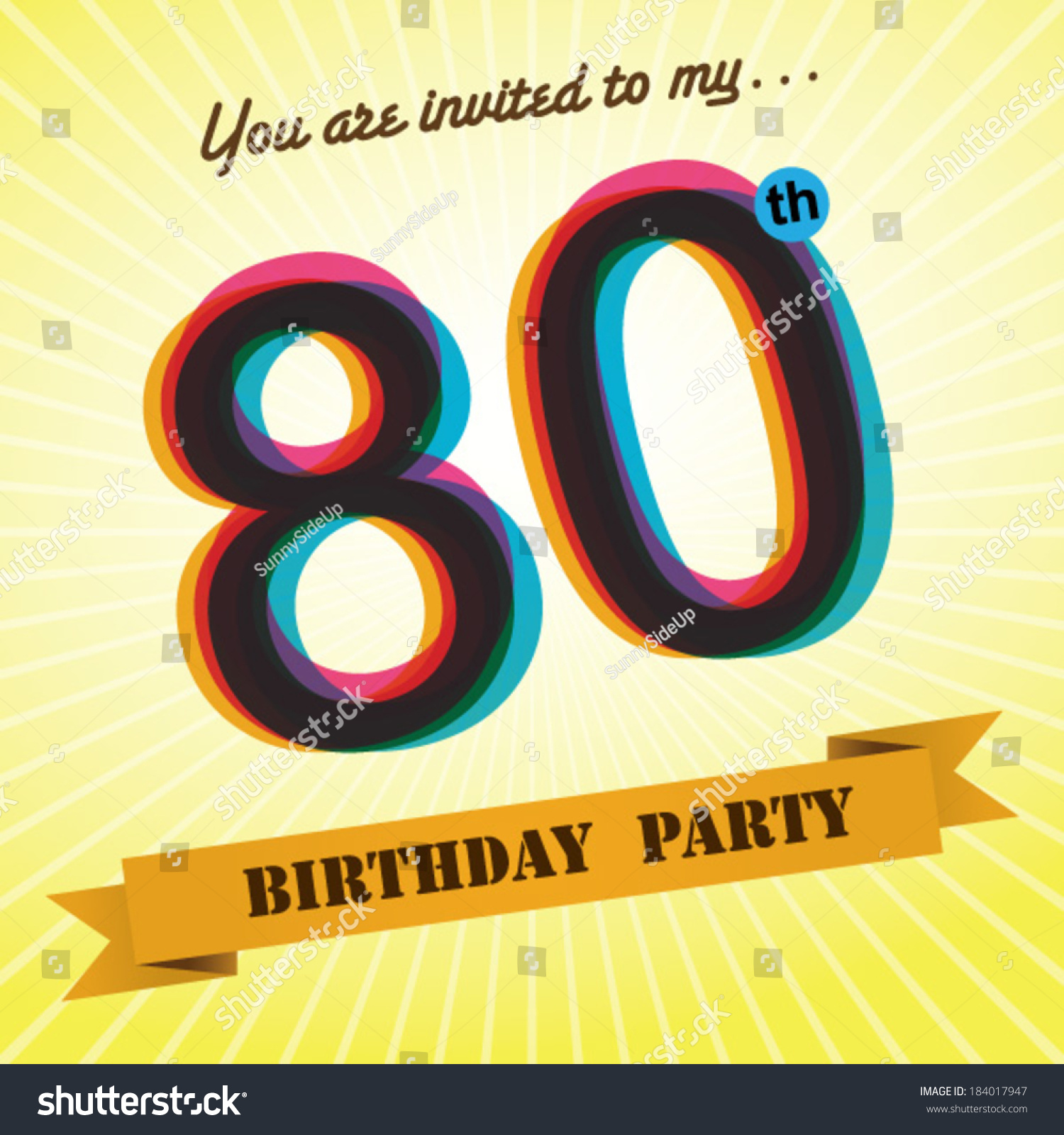 80th Birthday Party Invite Template Design Stock Vector (Royalty Free)  184017947