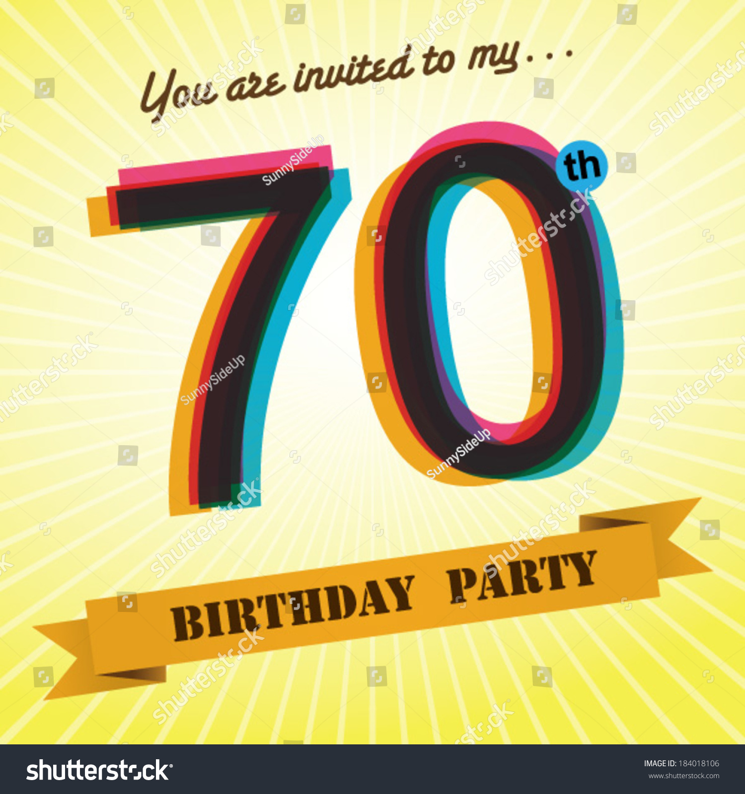70th birthday party invite template design stock vector royalty 70th birthday party invite template design in retro style vector background filmwisefo