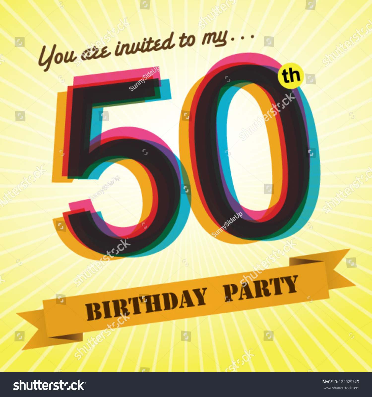 50th Birthday Party Invite Template Design Vector De Stock Libre De