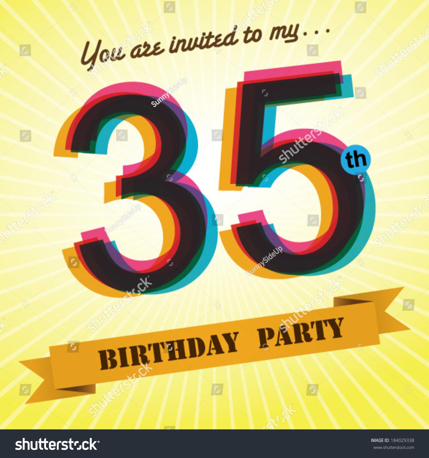 35th Birthday Party Invite Template Design In Retro Style