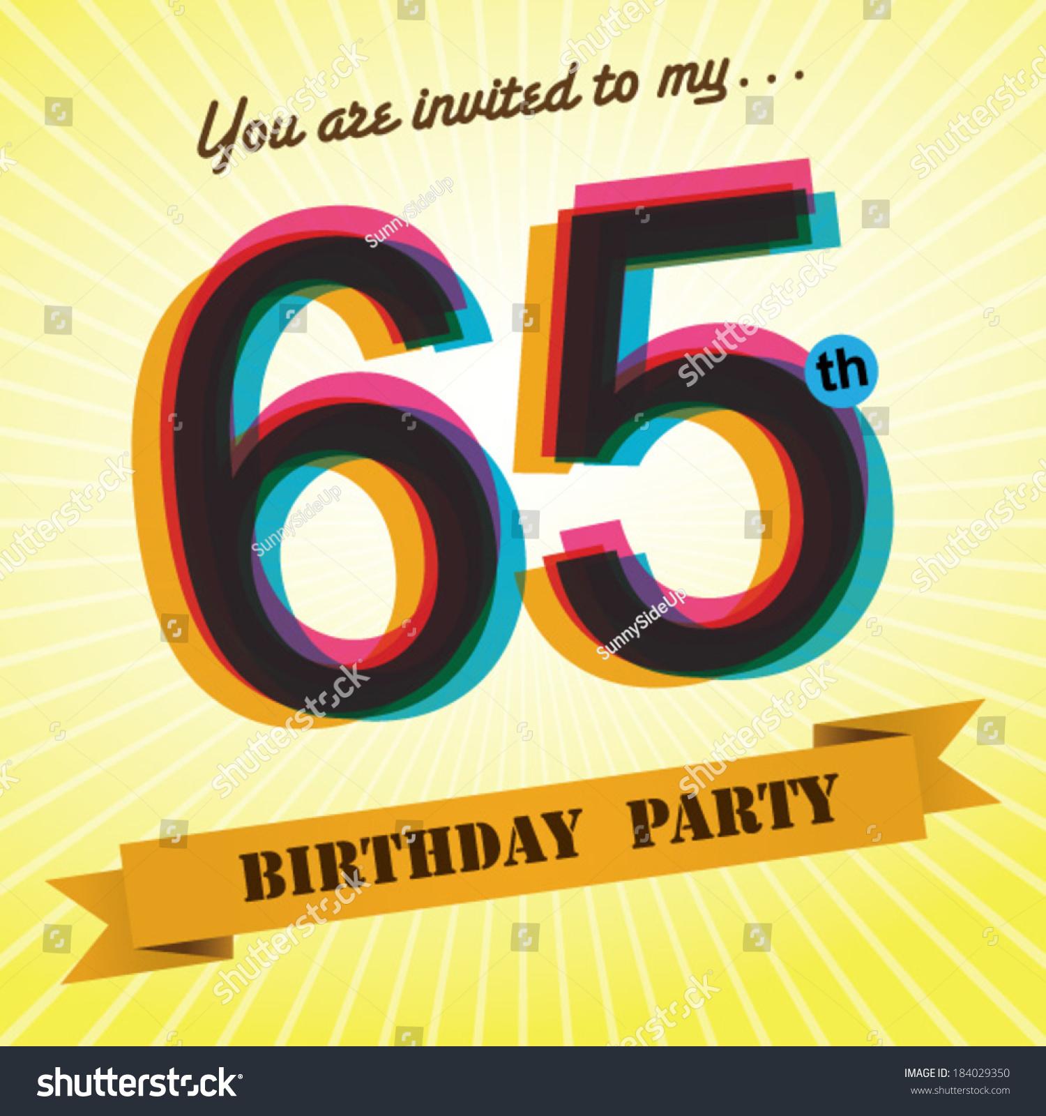 65th Birthday Party Invite Template Design In Retro Style