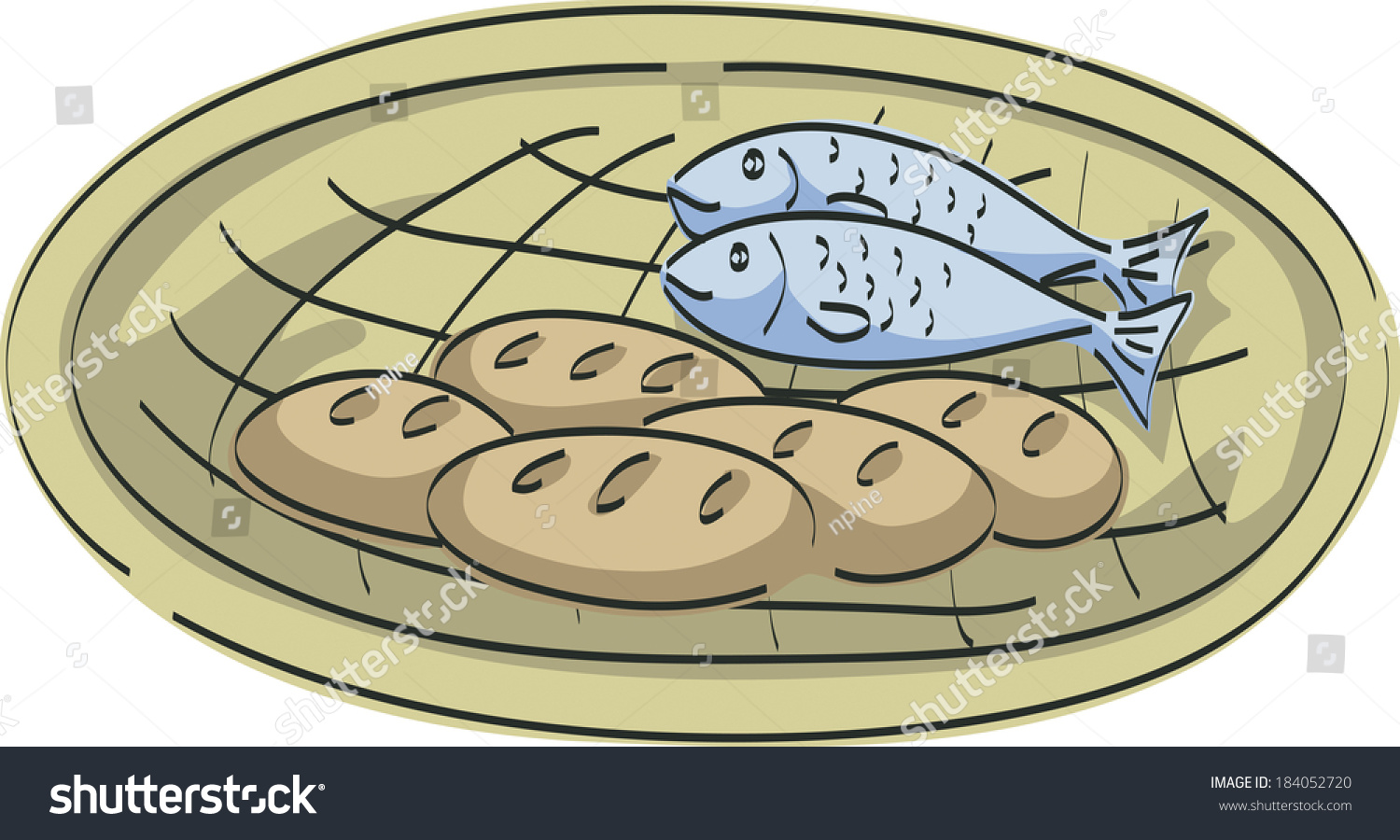 Illustration five loaves bread two fish stock illustration for Five loaves two fish
