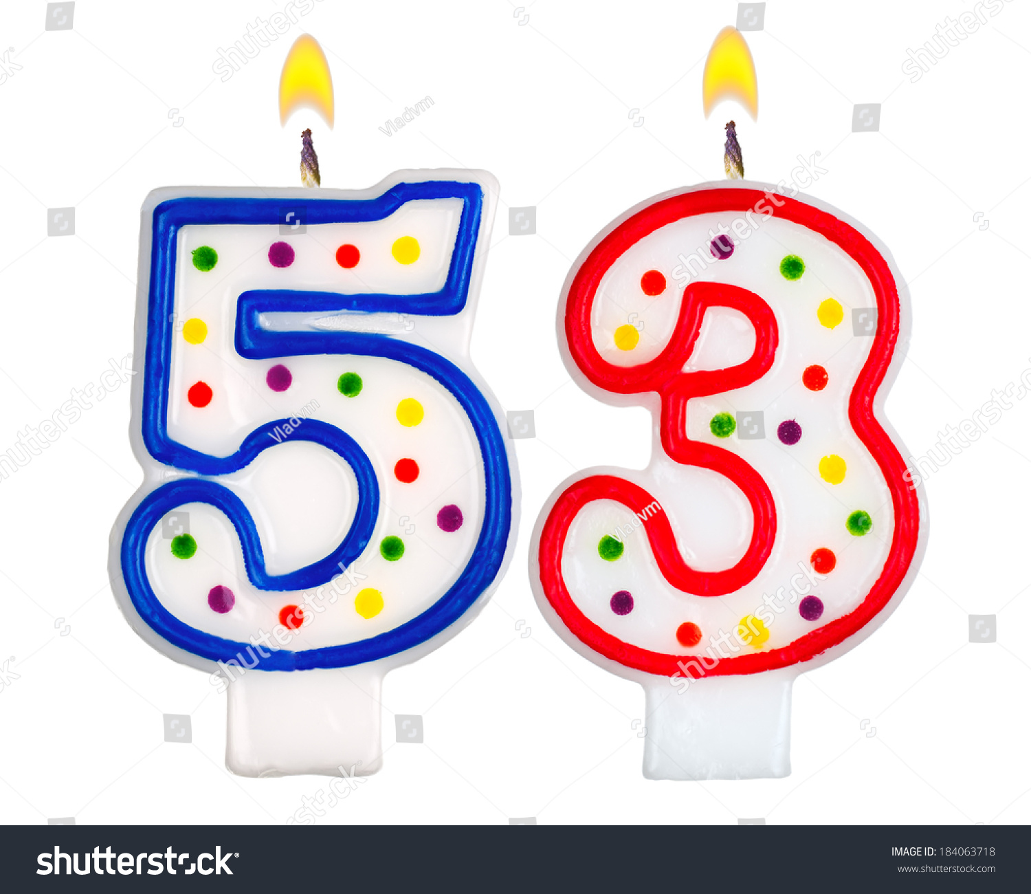 Birthday Candles Number Fifty Three Isolated Stock Photo