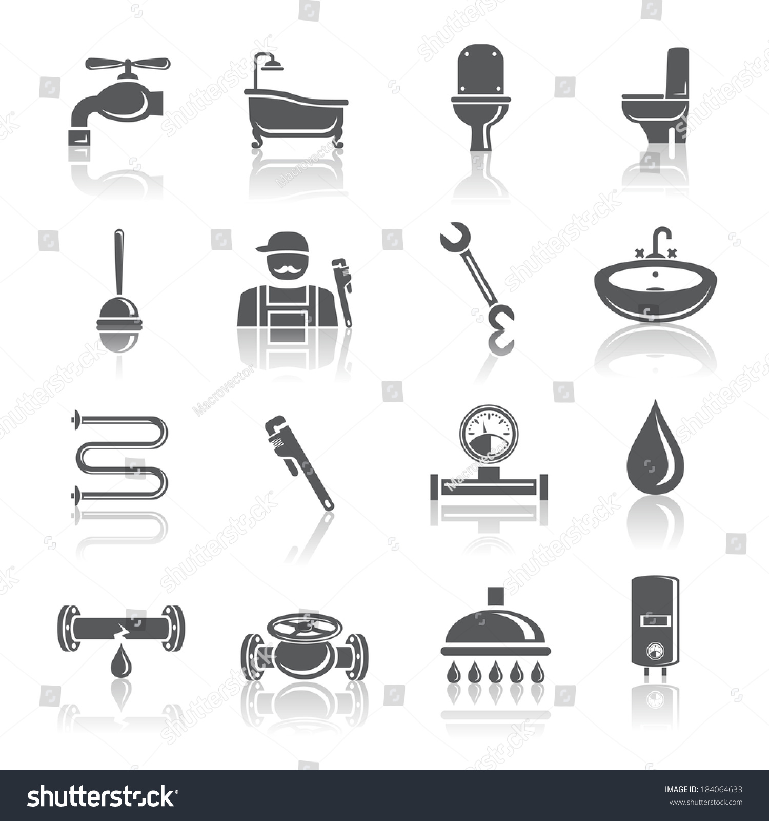 Plumbing Tools Pictograms Set Shower Bathroom Stock Vector