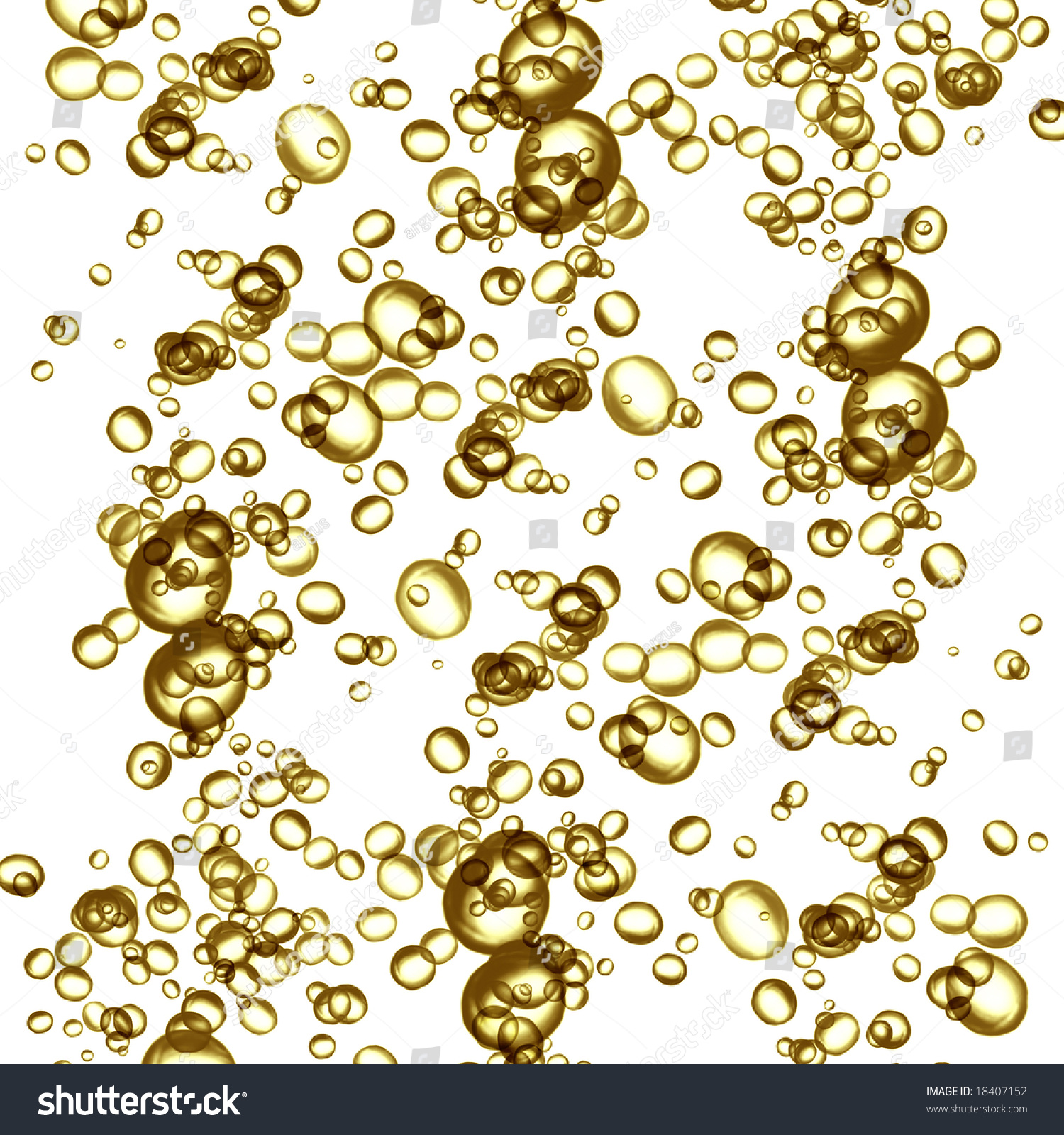 golden champagne bubbles on white background stock