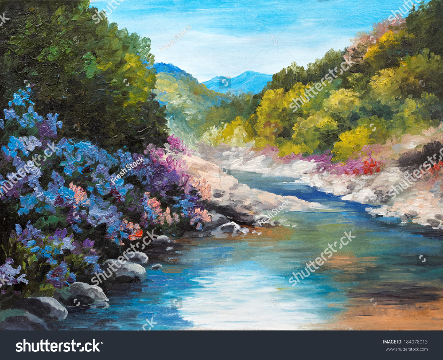 Mountain River, Flowers Near The Rocks