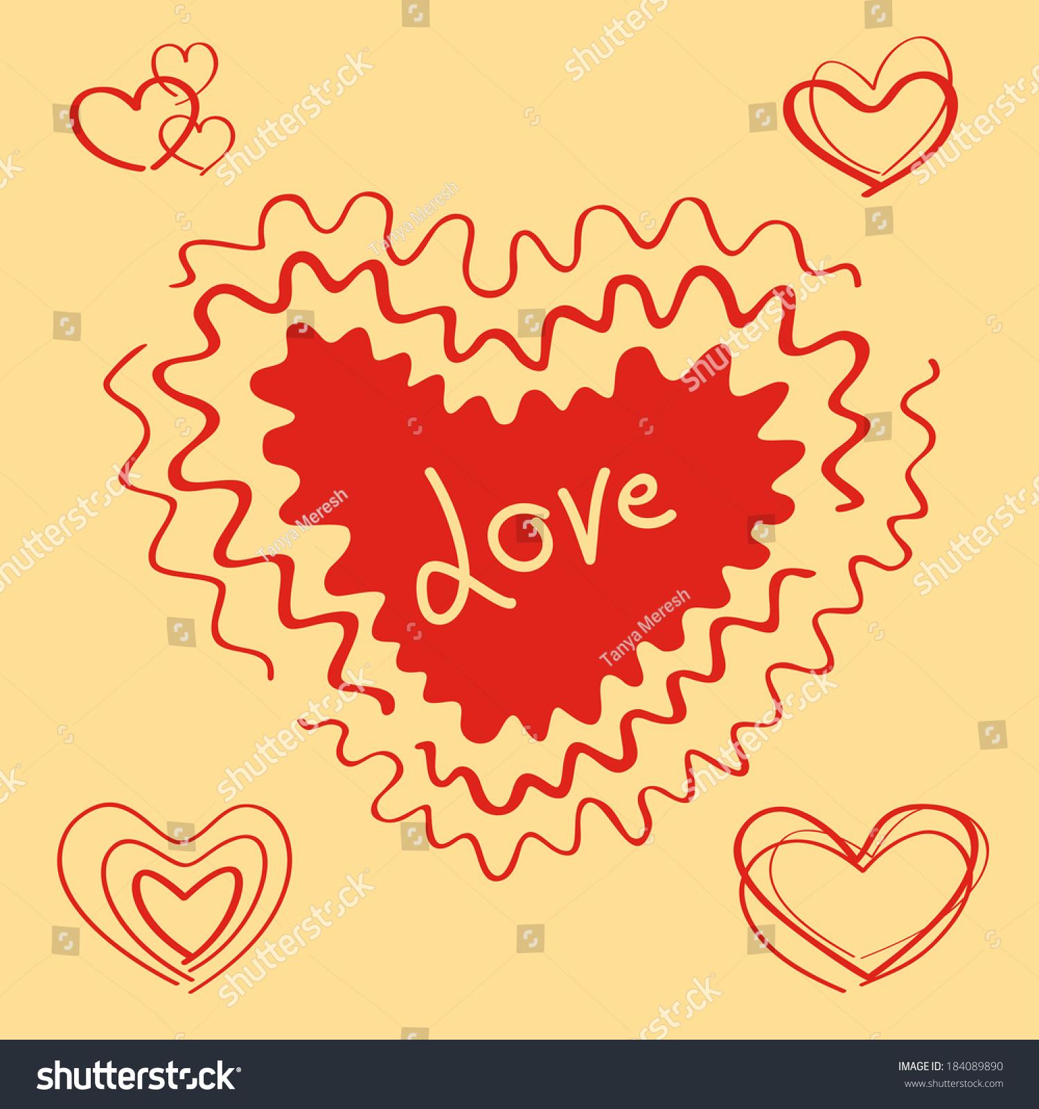 Vector hearts set big heart love stock vector 184089890 shutterstock vector hearts set the big heart with love text buycottarizona Image collections