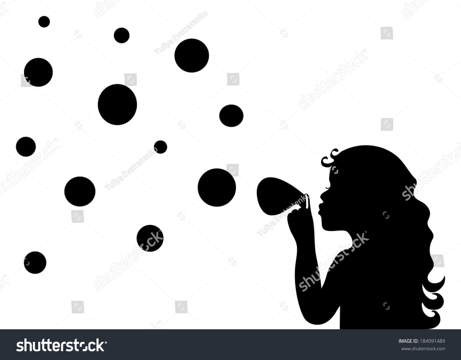Silhouette Little Girl Blowing Soap Bubbles Stock Vector ...