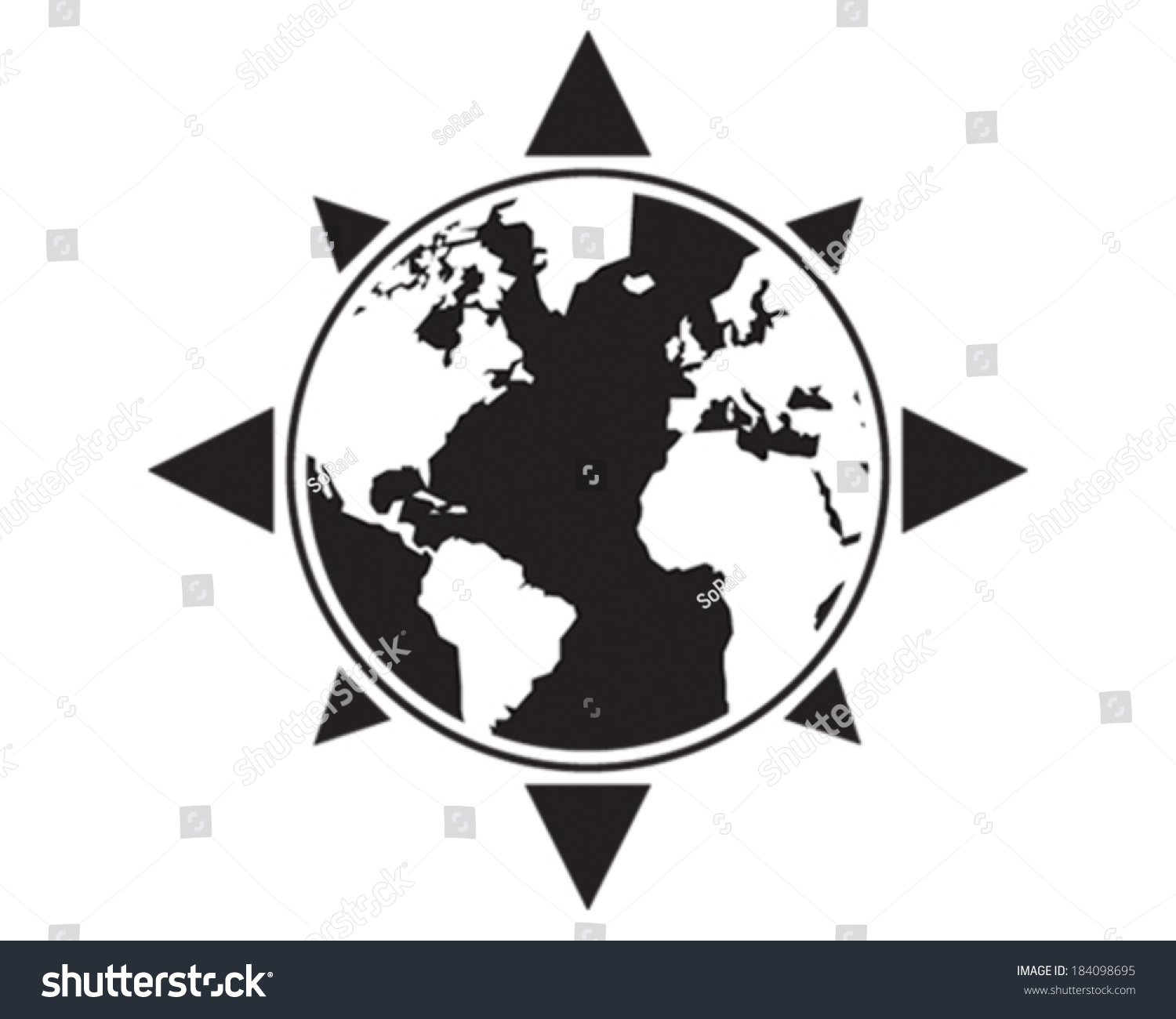 World Compass Stock Vector (Royalty Free) 184098695