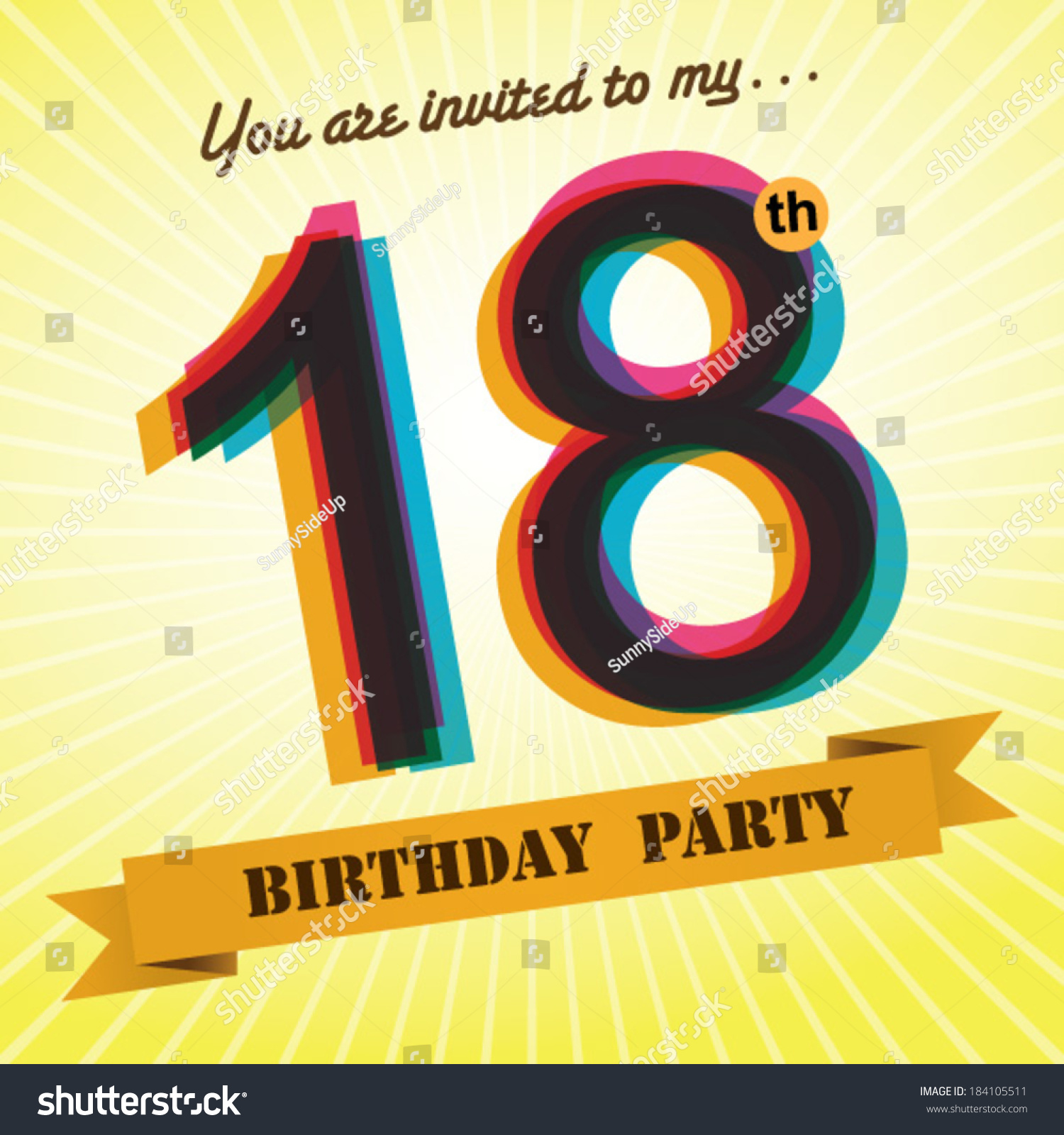 18th Birthday Party Invite Template Design Vector 184105511 – 18th Invitation Templates