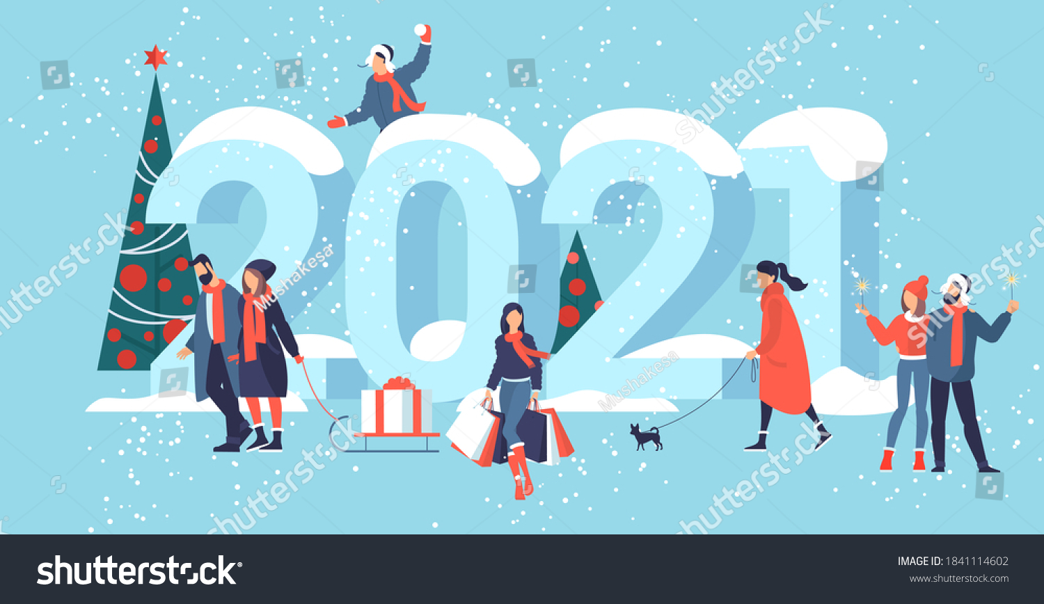 Flat design Christmas and New Year vector concept. Preparing to meet 2021 new year. Business people building the numbers 2021.  #1841114602