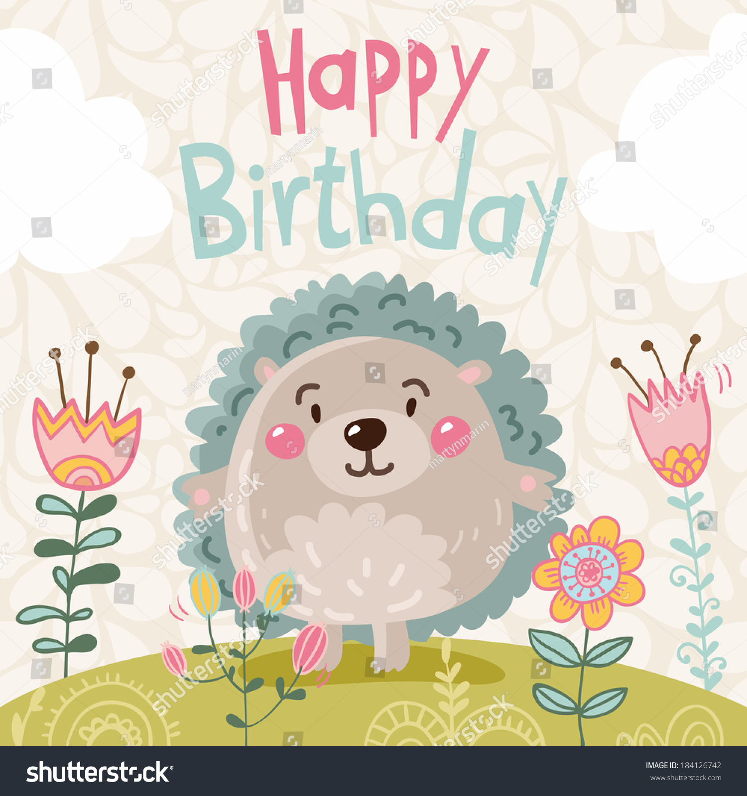 Cute Spring Happy Birthday Card Funny Stock Vector Royalty Free