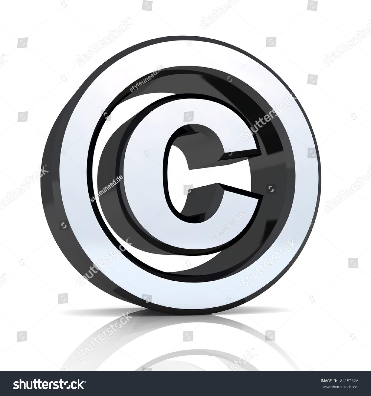 Black Silver Copyright Symbol On White Stock Illustration 184152326