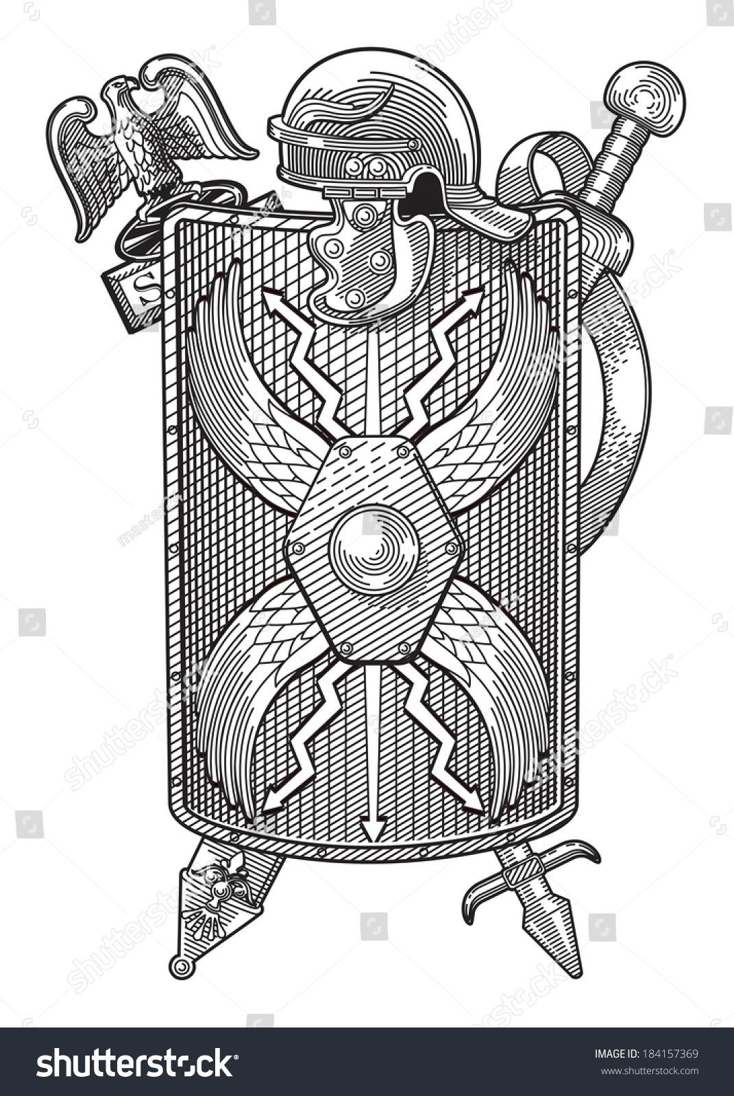Coat Of Arms. Aquila, Helmet, Shield And Sword Roman ...