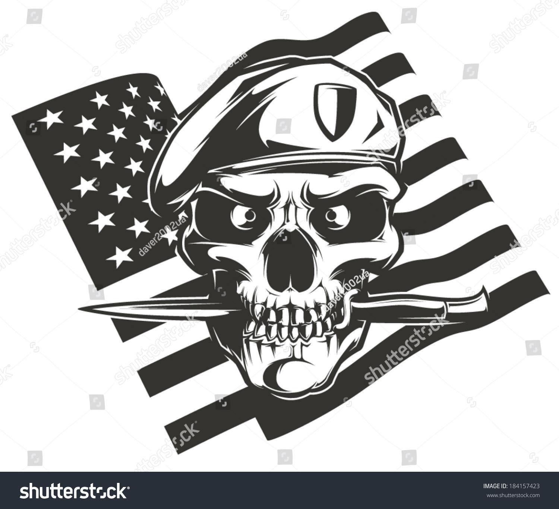 Military Skull Stock Vector 184157423 - Shutterstock