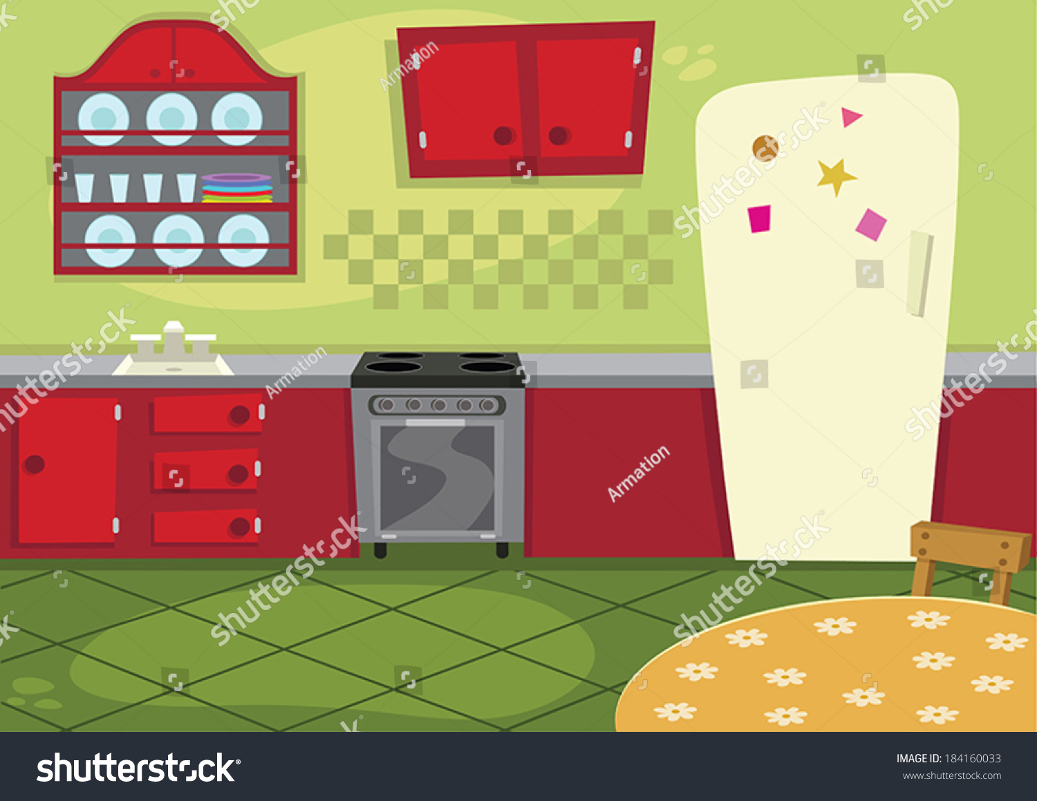 cartoon kitchen stock vector 184160033 shutterstock