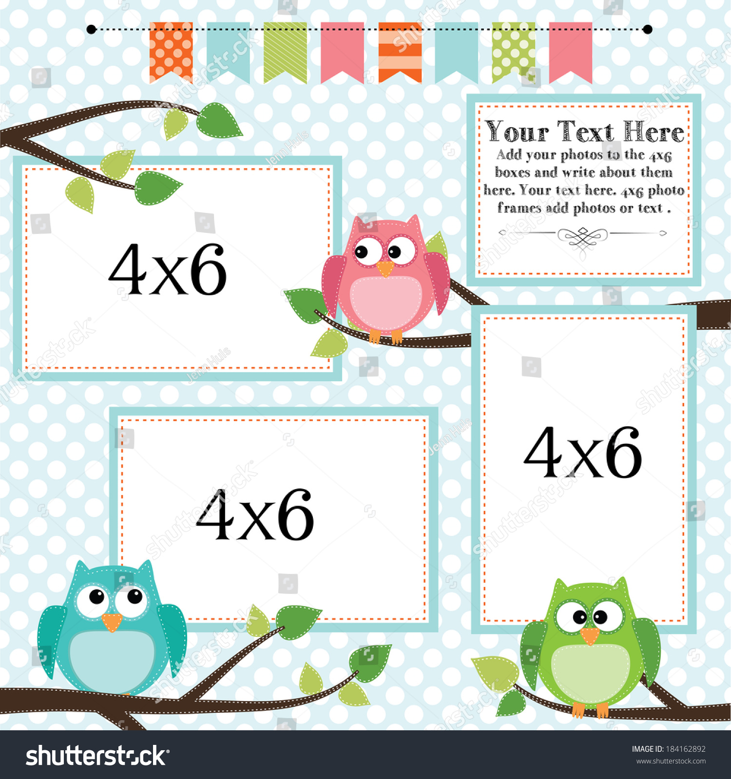 owl scrapbooking template with banner or bunting and 4x6 frames for photos or text vector